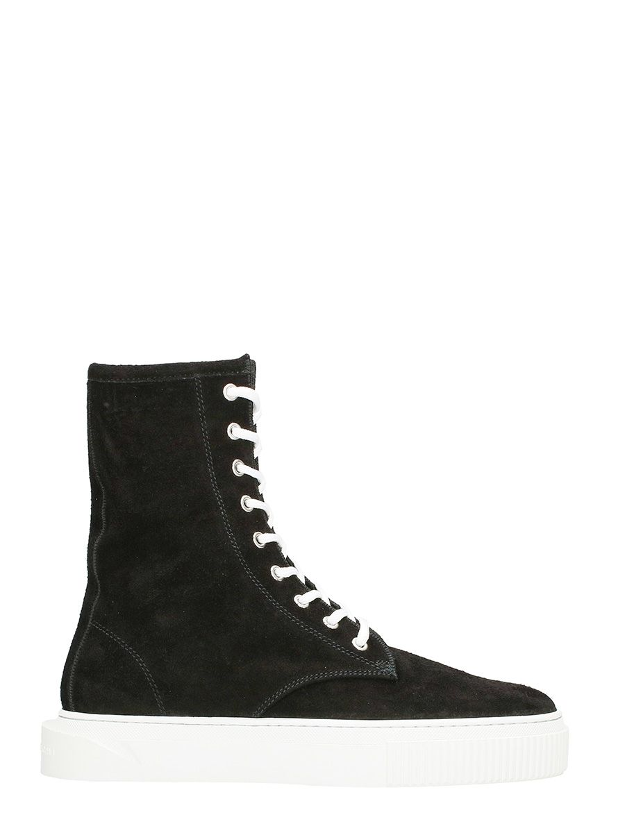 Gienchi Derby Polacco Hi Black Suede Sneakers