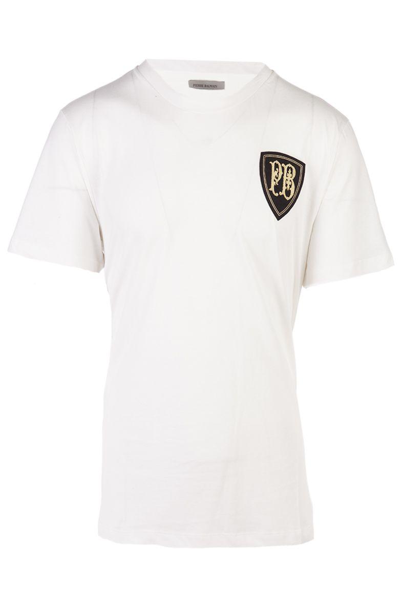 Pierre Balmain White Crest Logo T Shirt Modesens
