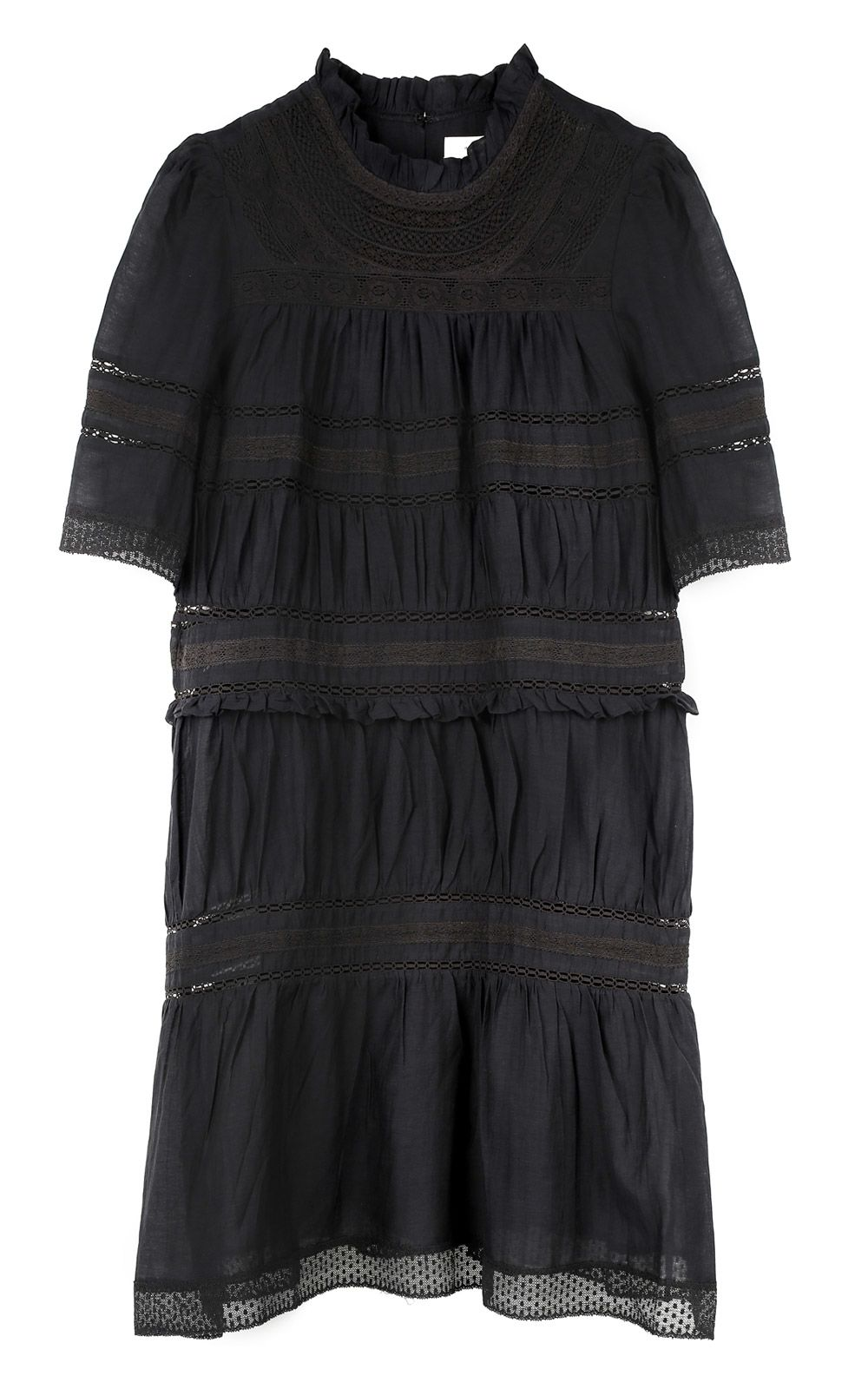 Etoile Isabel Marant  VICKY LACE-TRIMMED COTTON-BLEND DRESS