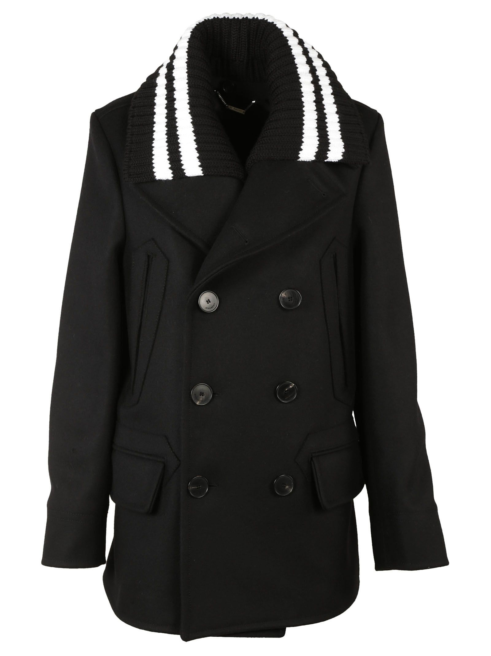 Givenchy Ribbed Striped Collar Pea Coat