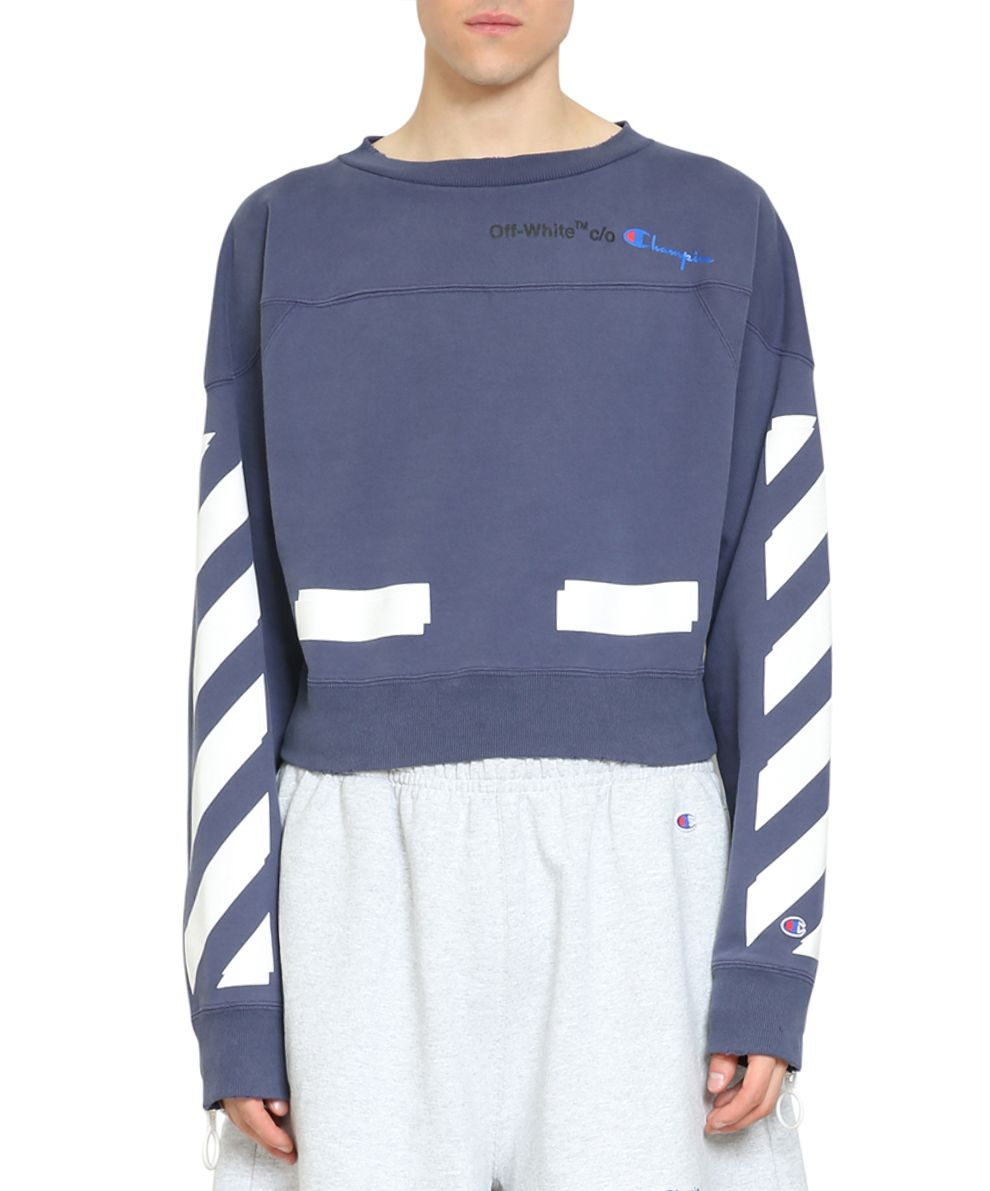 a3fa8235 Off-White Blue Champion Reverse Weave Edition Crewneck Sweatshirt ...