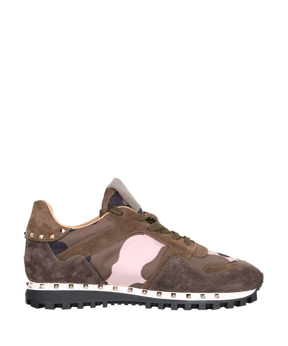 Valentino Garavani Suede Trimmed Rockstud Sneakers