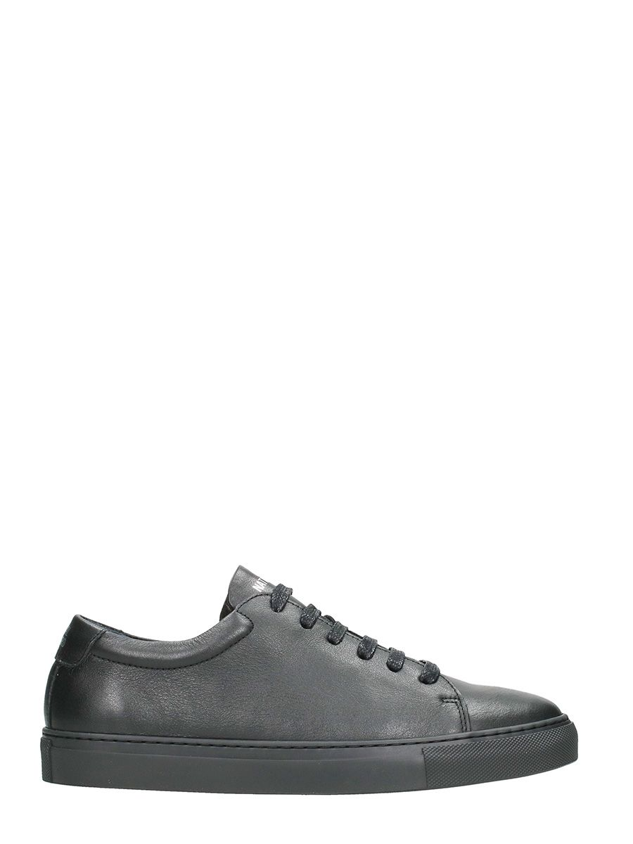 National Standard Low Black Leather Sneakers