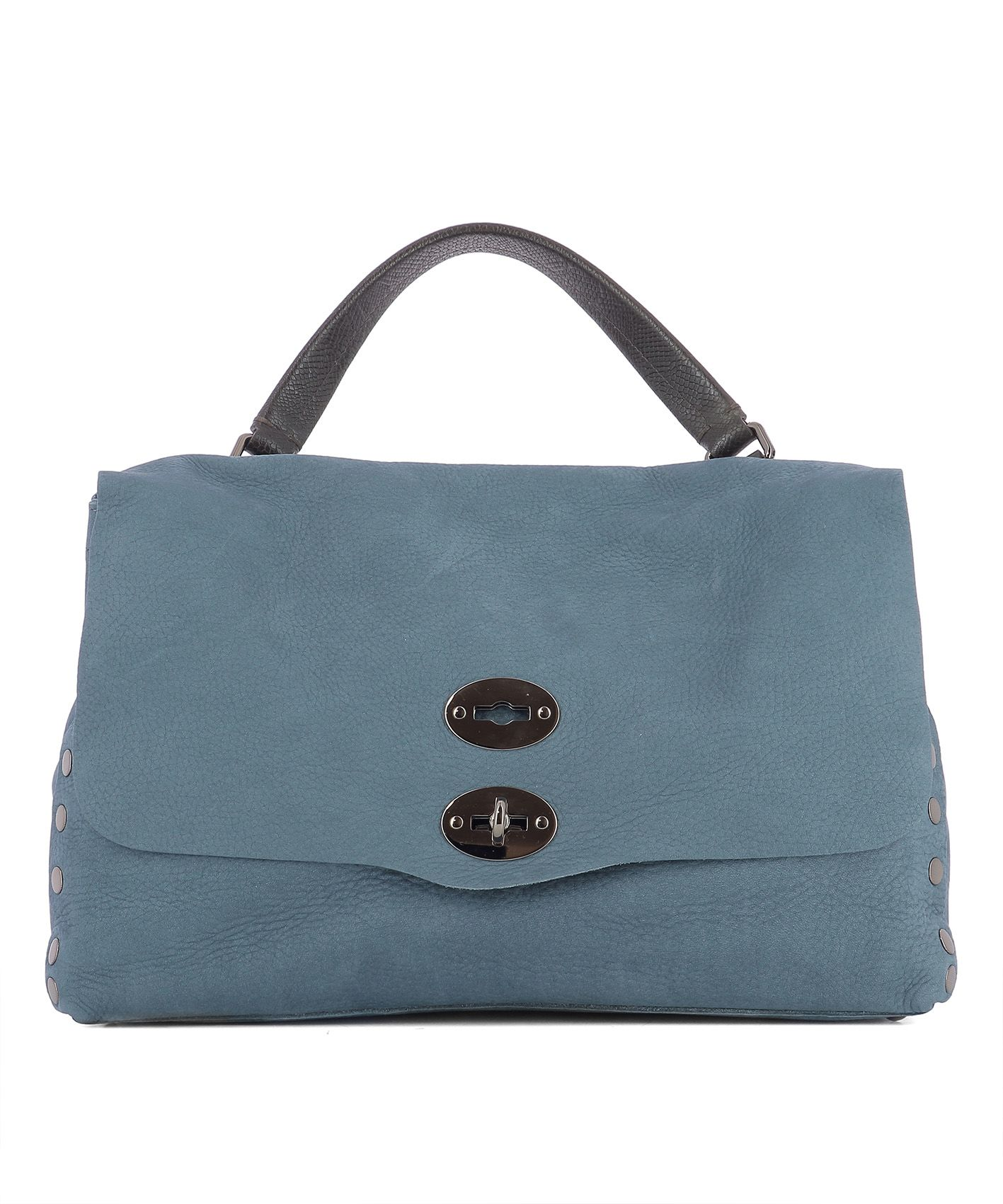 Light Blue Leather Handle Bag