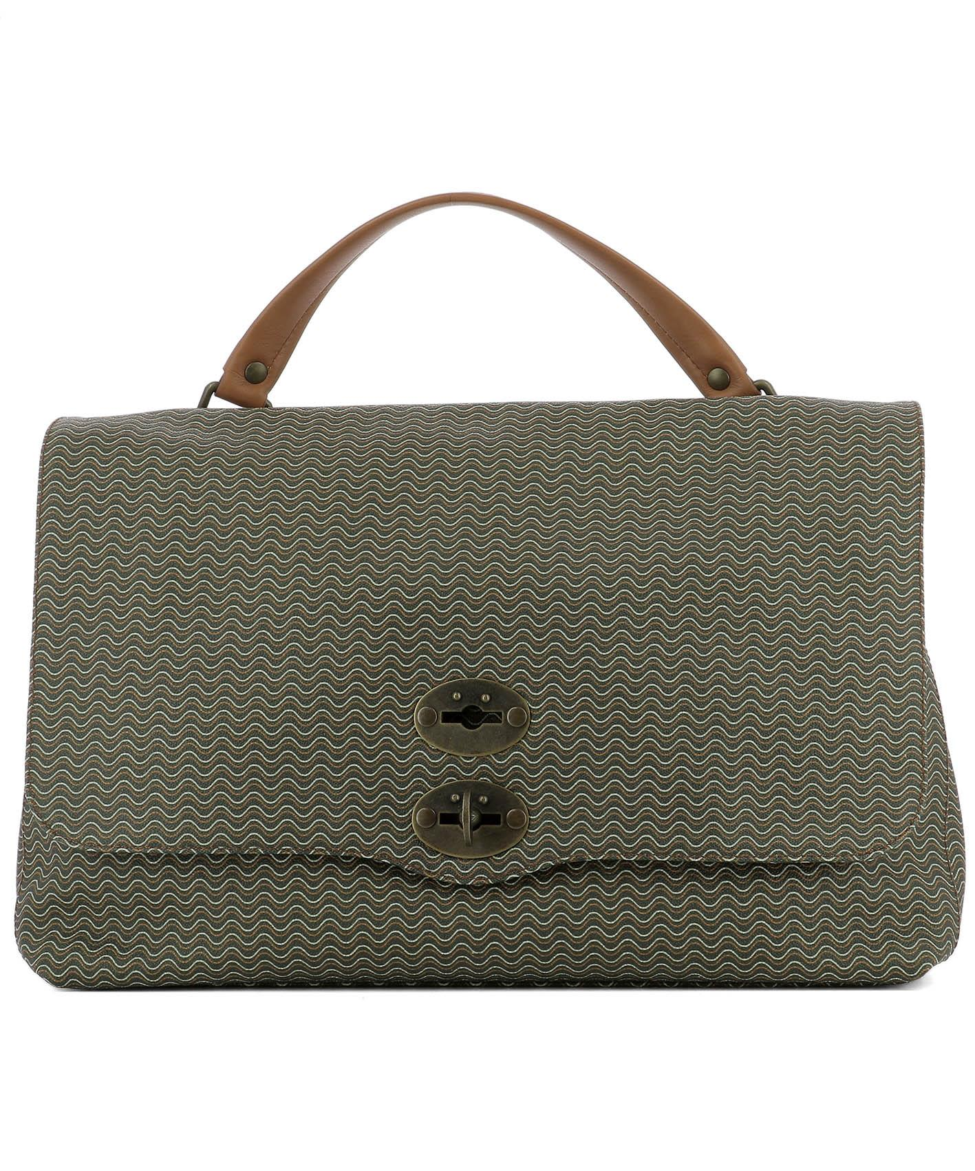 Green Leather La Postina L Handle Bag