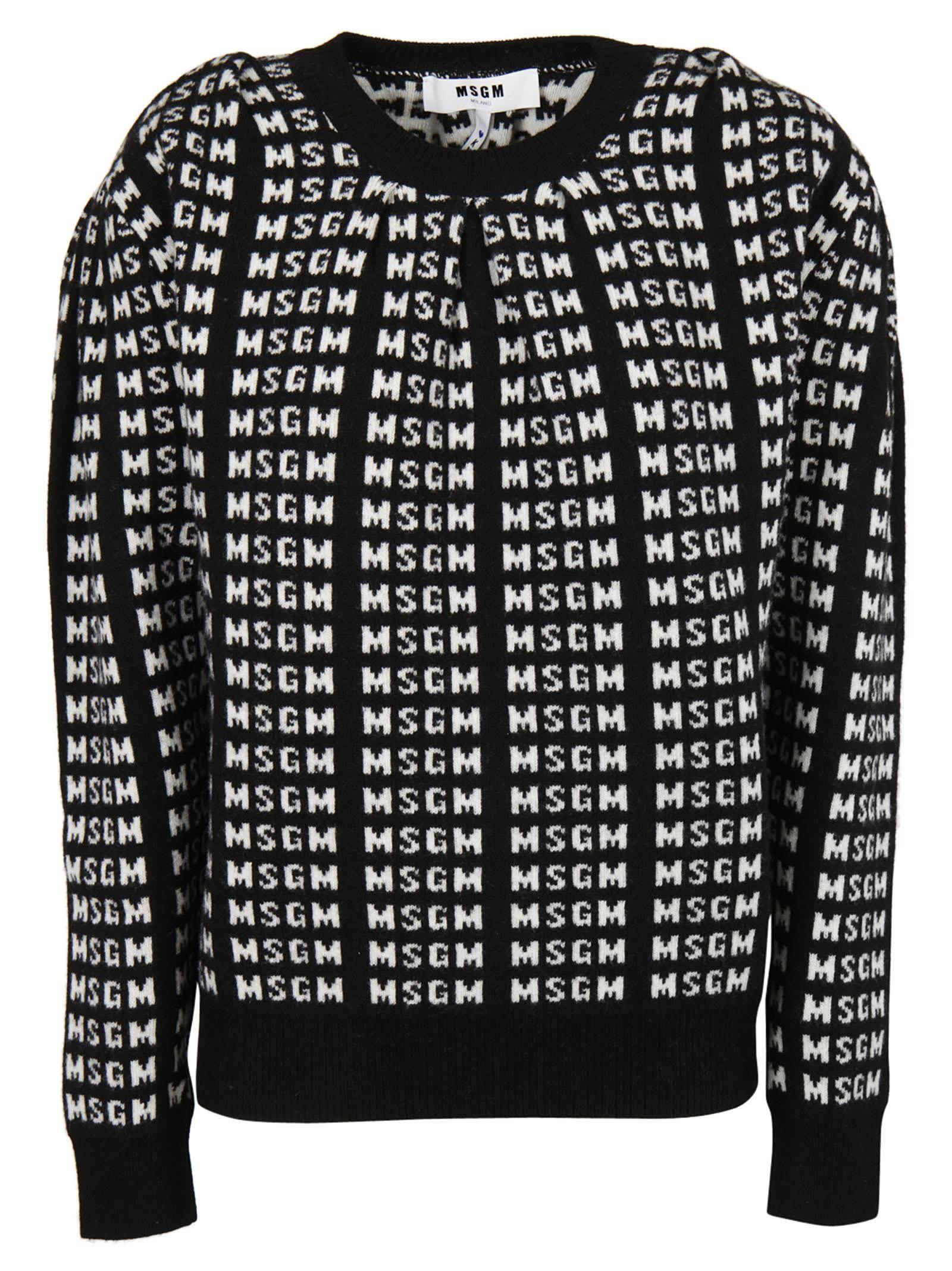 Msgm Logo Intarsia Sweater