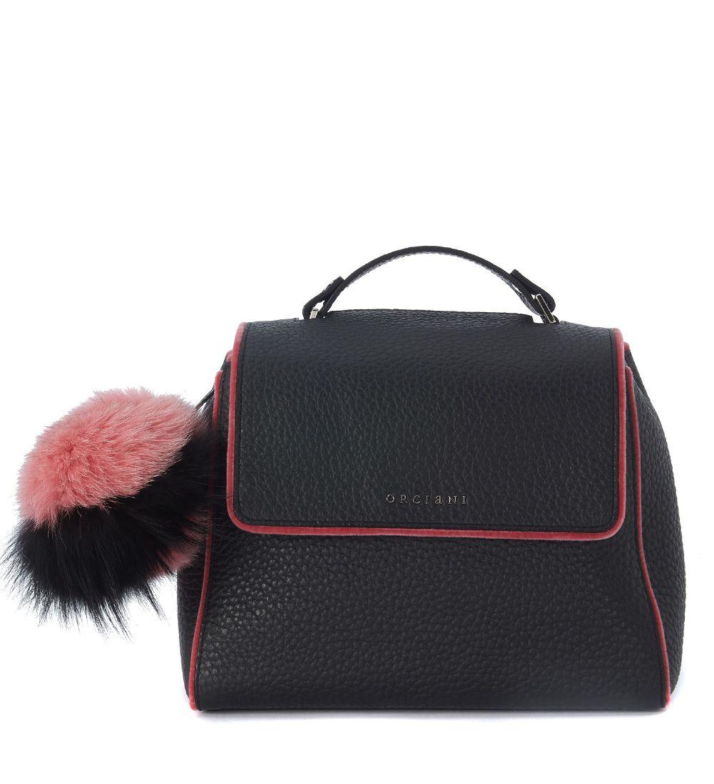 Orciani Black Leather And Pink Velvet Handbag