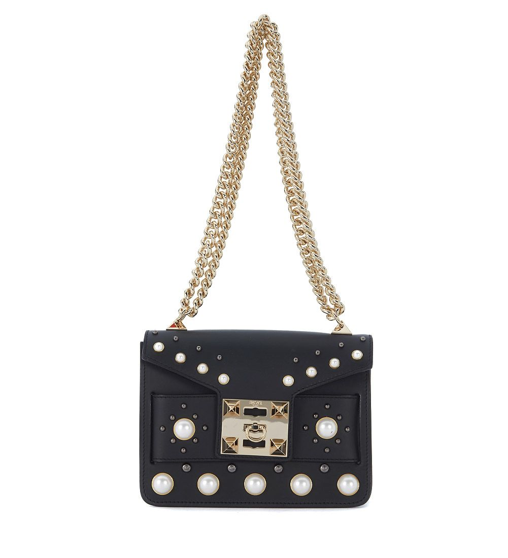 Salar MILA BLACK LEATHER SHOULDER BAG WITH PEARL STUDS