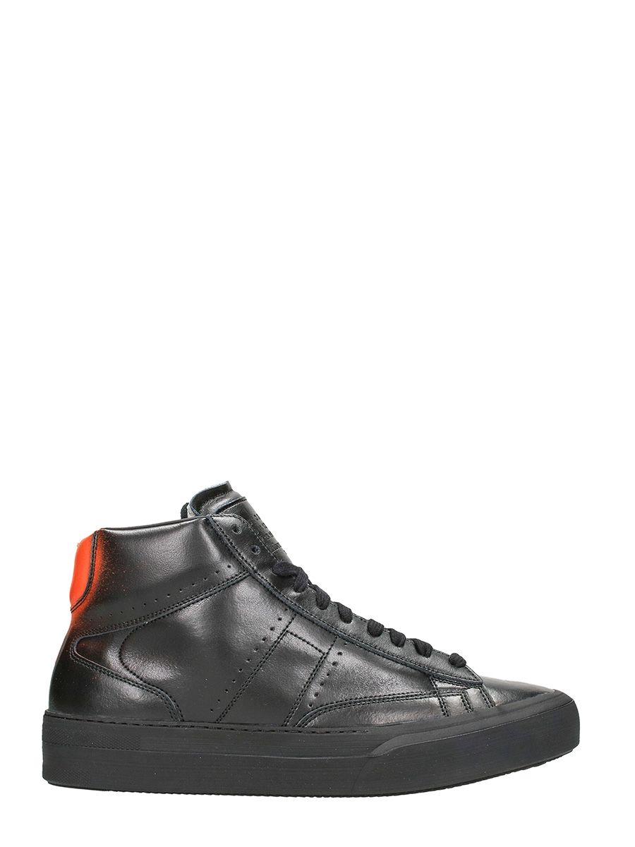 maison margiela maison margiela mid black leather sneakers black men 39 s sneakers italist. Black Bedroom Furniture Sets. Home Design Ideas