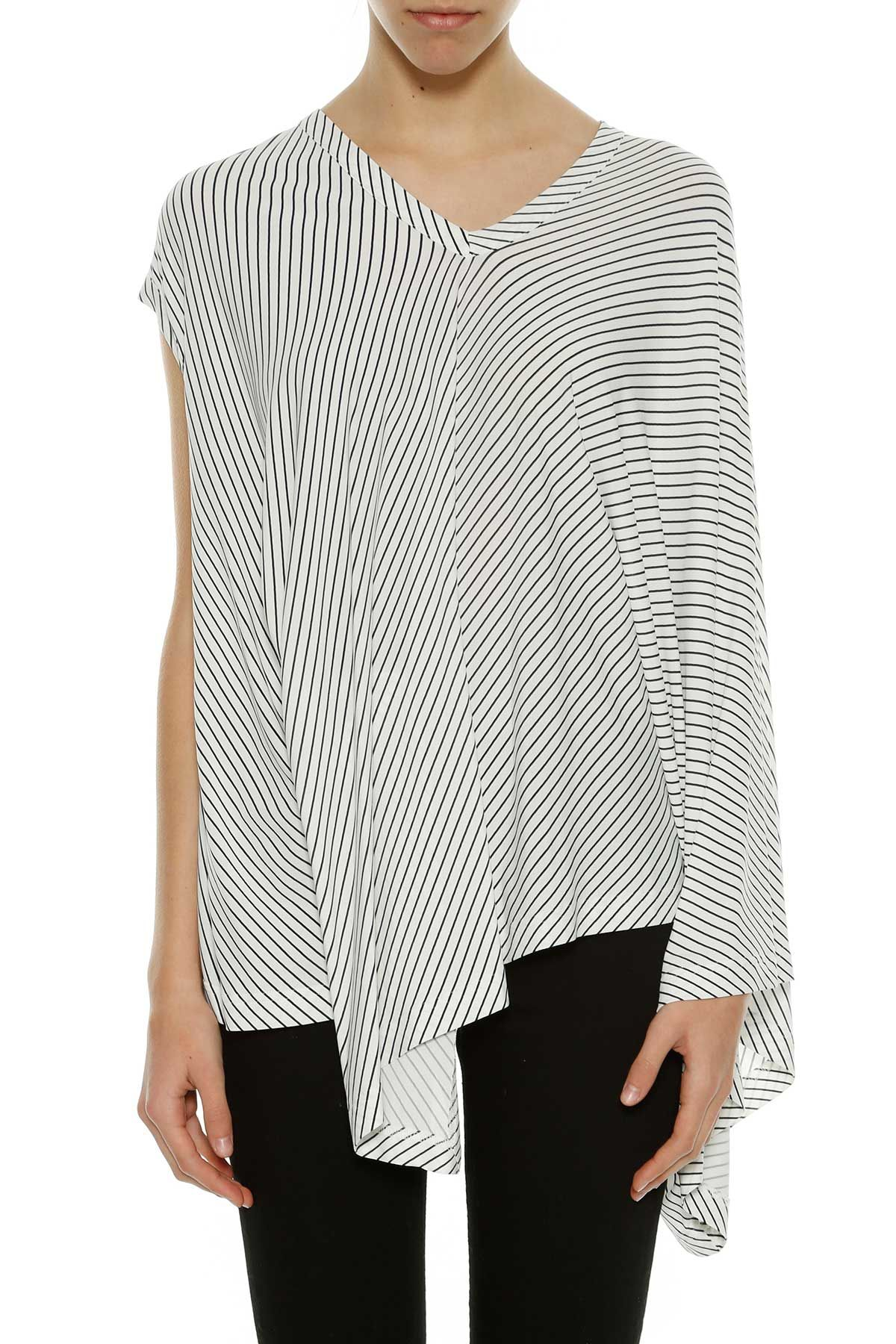 Balenciaga Striped Jersey Asymmetric Top