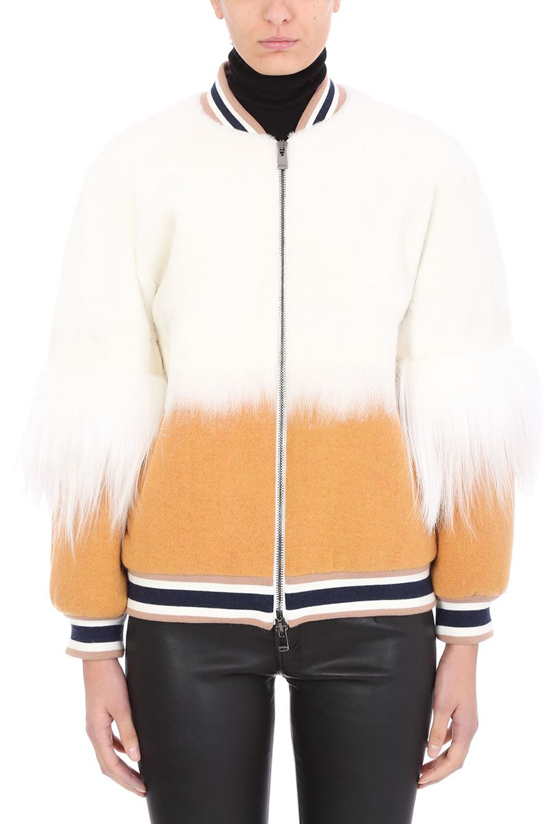 Drome COLLEGE ZIPPED WOOL AND FUR BOMBER