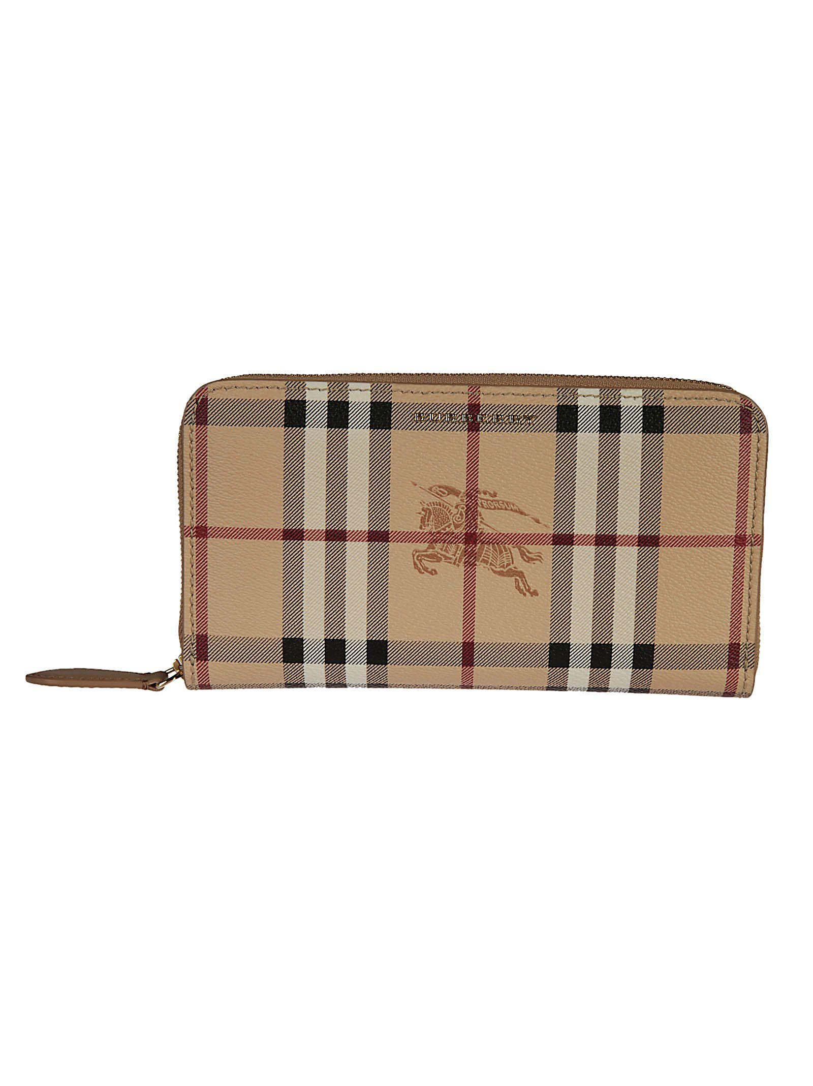 Burberry Haymarket Check Zip Around Wallet