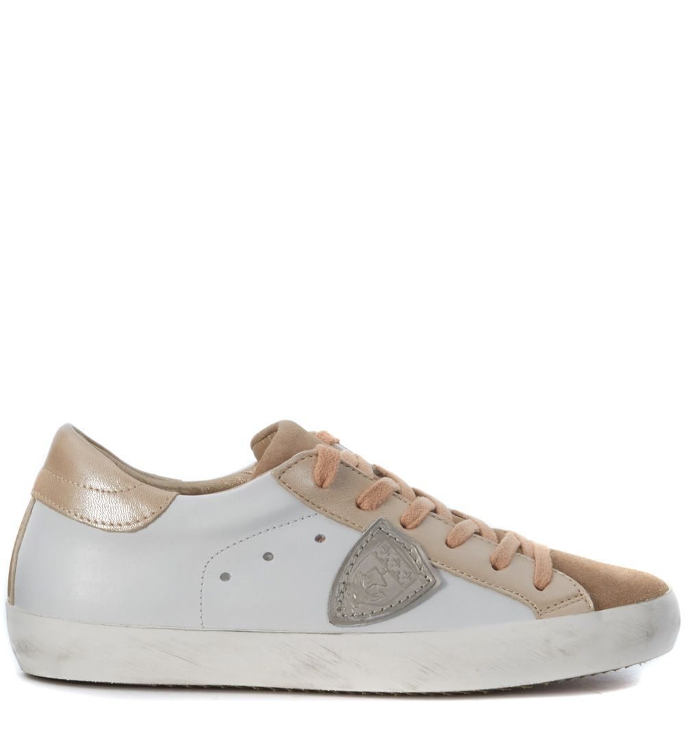 Sneakers Philippe Classic Model In White Leather And Pale Pink Suede