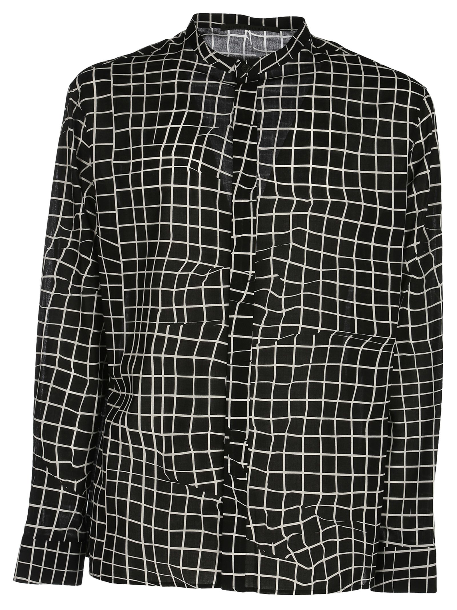 Haider Ackermann Grid Print Collarless Shirt