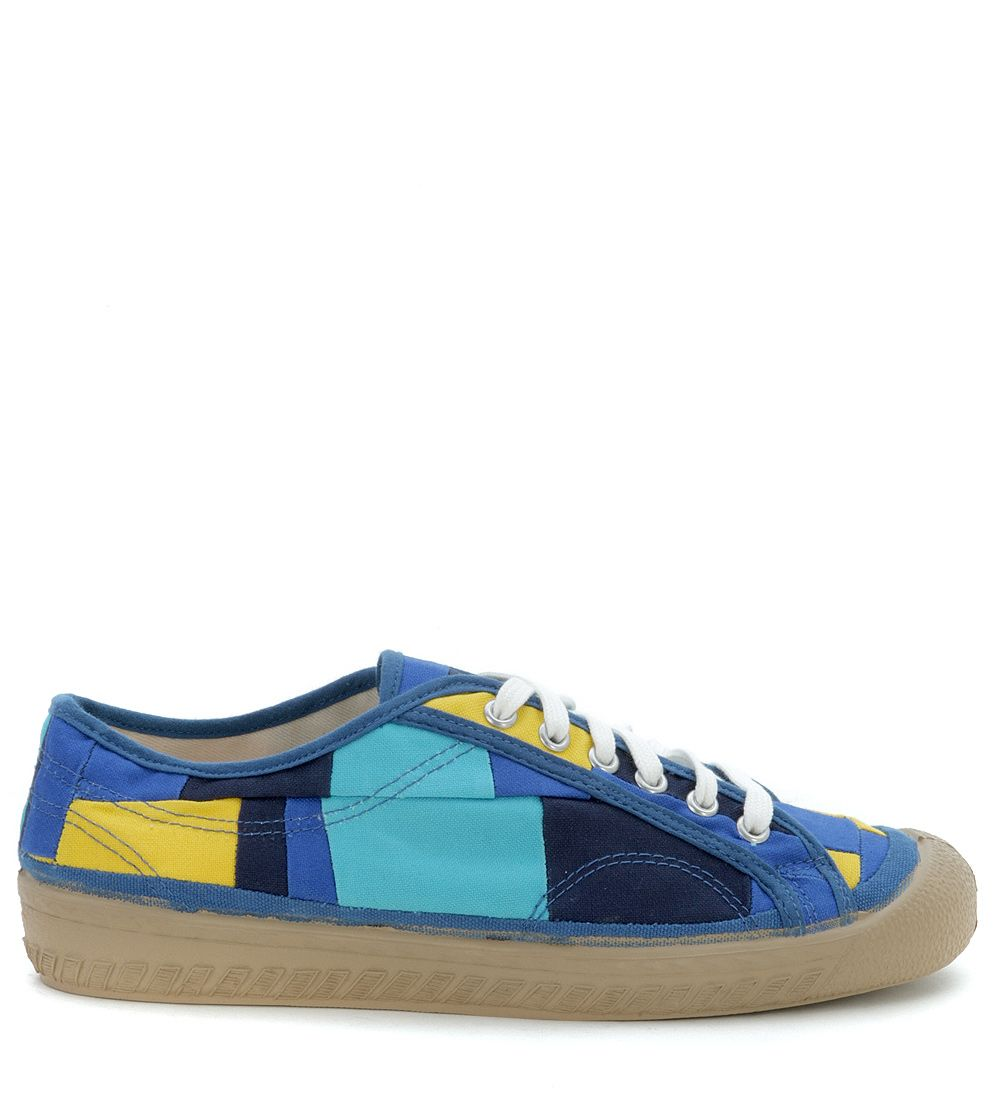 Comme Des Garçons Blue And Yellow Patchwork Sneakers