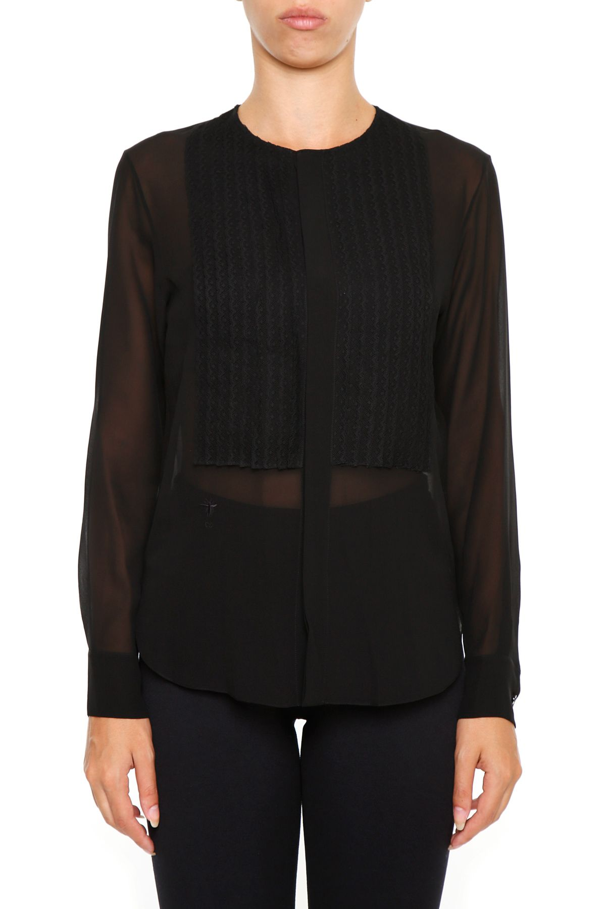 Silk Blouse With Lace Plastron