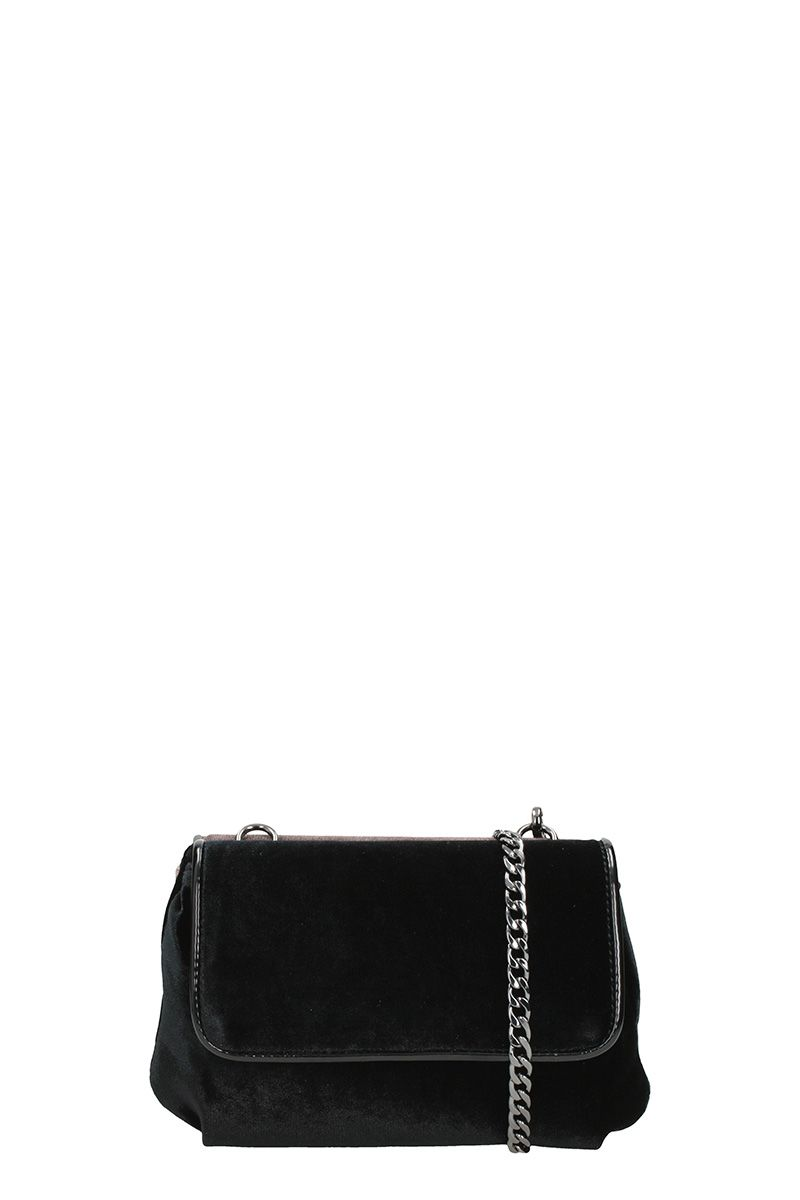 Lola Cruz Black Bronze Velvet Shoulder Bag