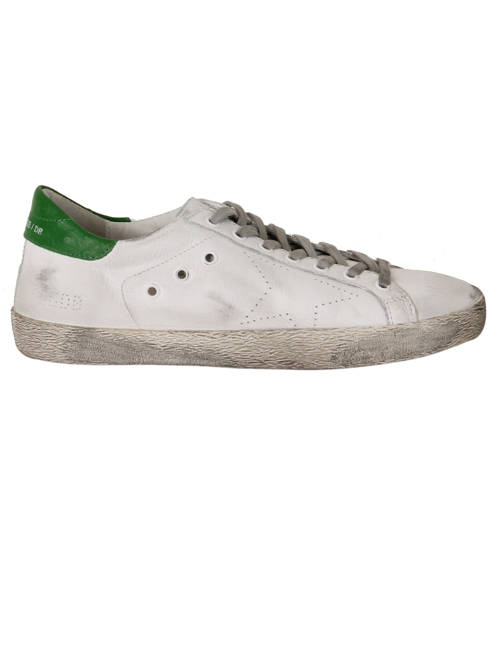 Golden Goose White Green Ostrich Superstar Low Sneakers