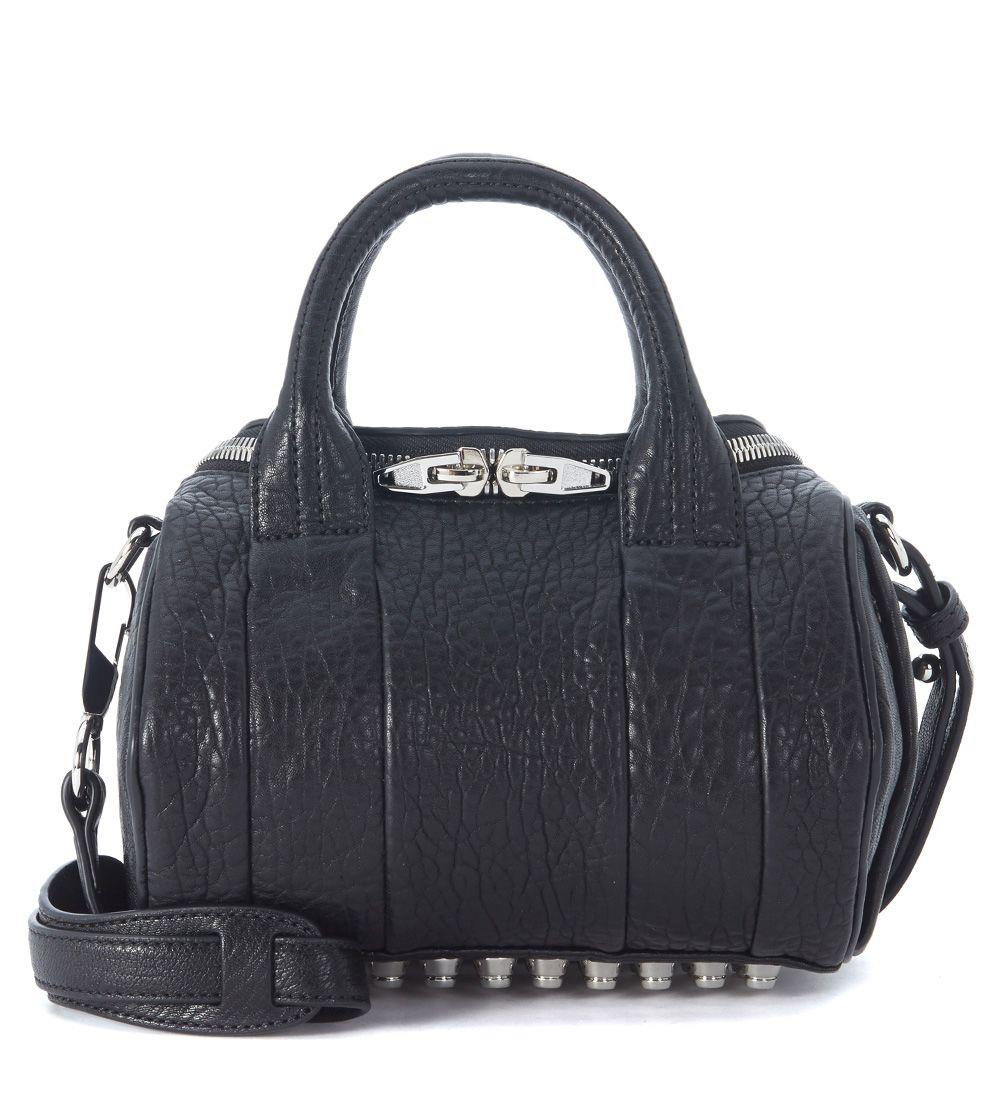 Alexander Wang Rockie Mini Bowler Bag In Black Tumbled Lamb Leather