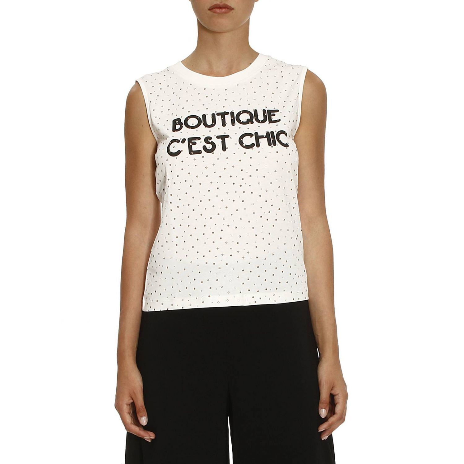 T-shirt Sleeveless Shirt With Multi Rhinestones And Boutique Cest Chic Writing