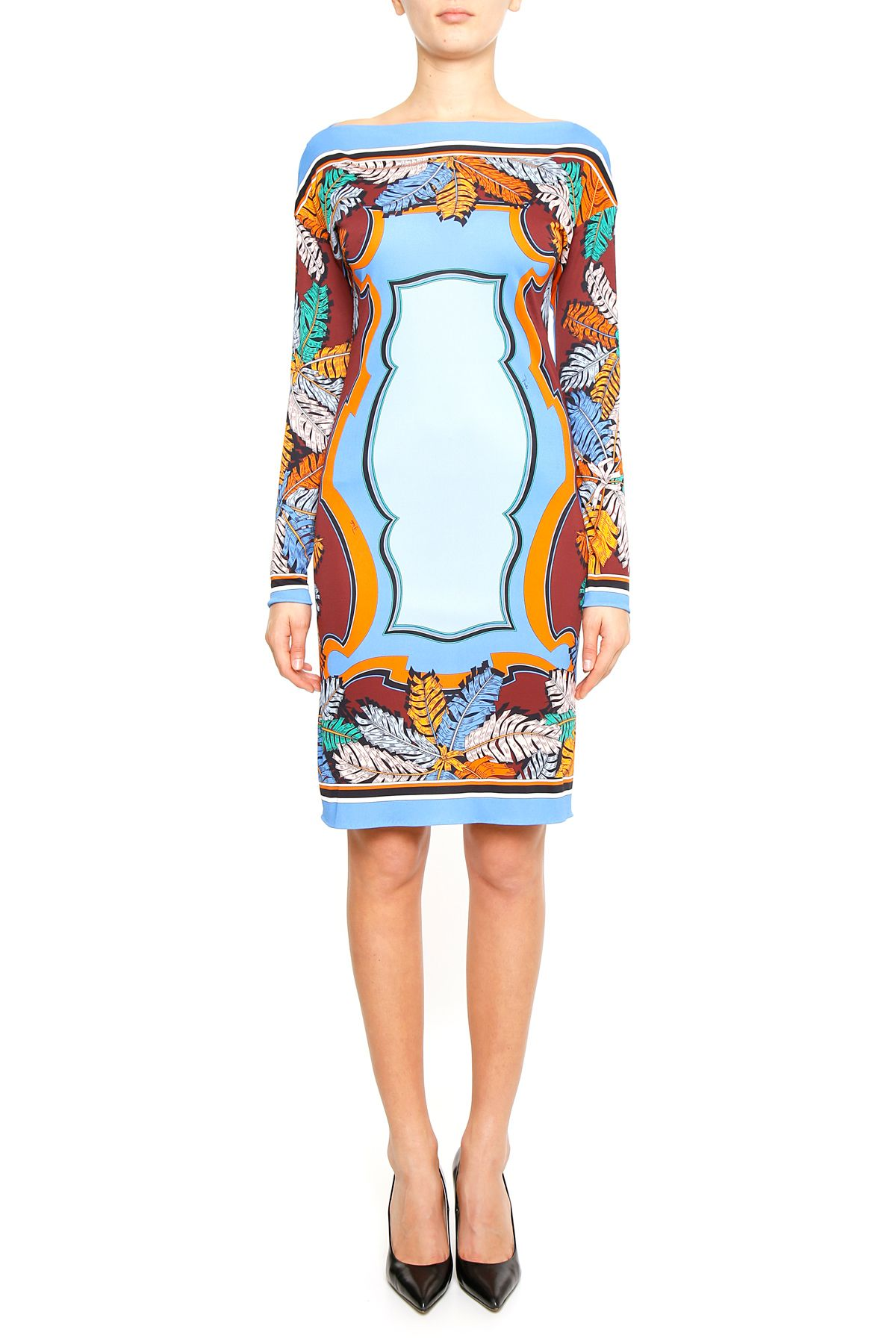 Printed Jersey And Silk Dress