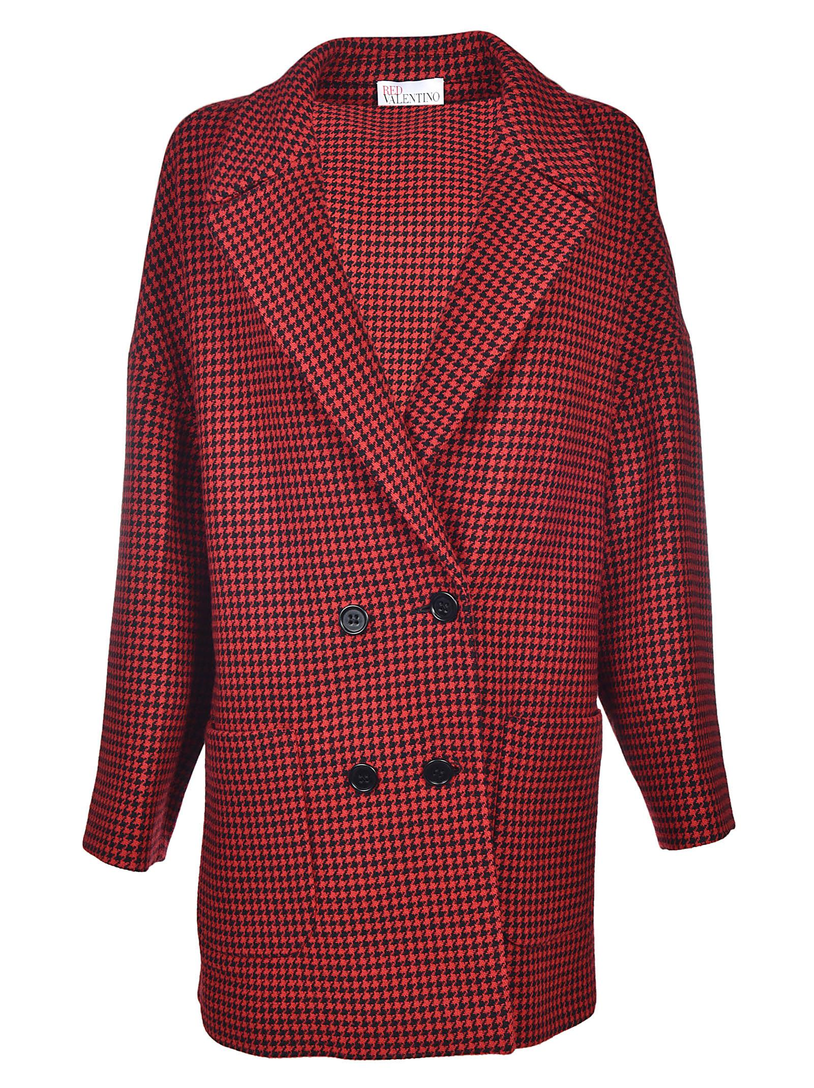 Red Valentino Houndstooth Boyfriend Coat
