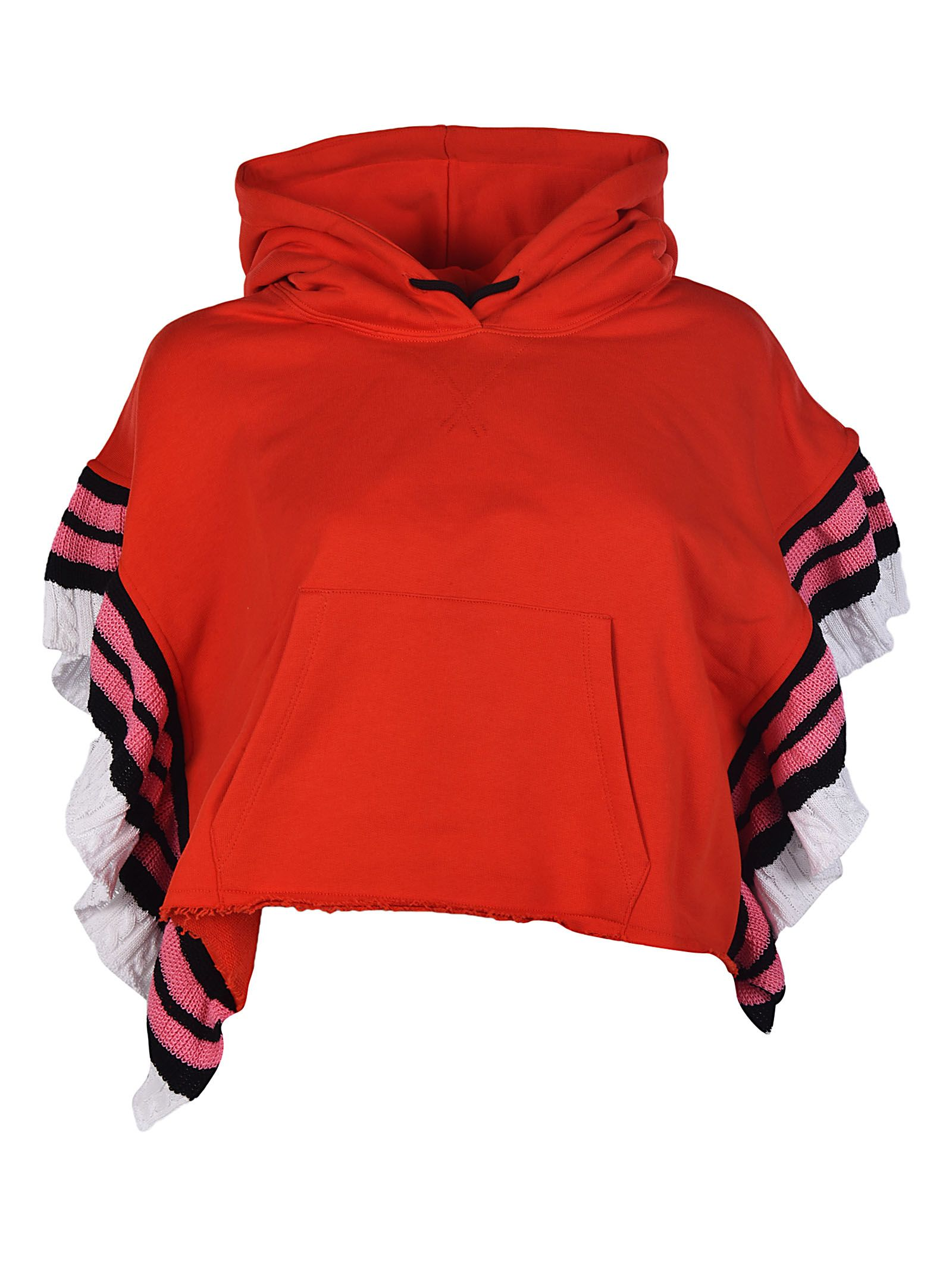 Msgm Cropped Knit Hoodie