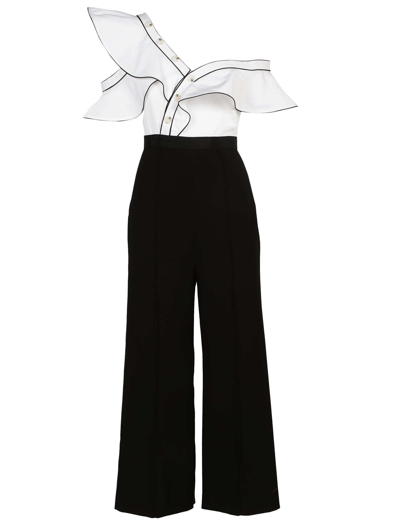self-portrait Self Portrait Monochrome Frill Jumpsuit