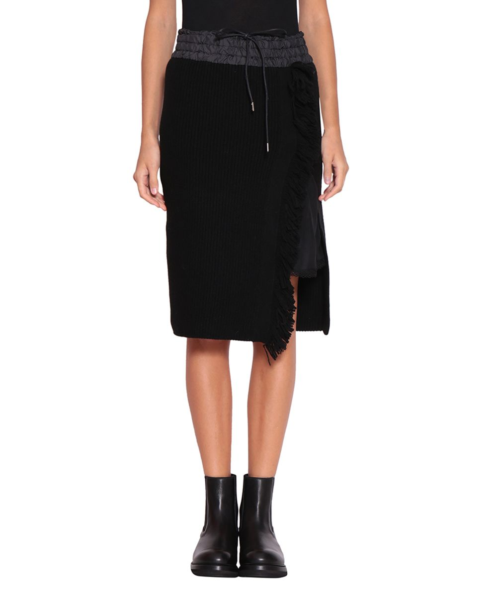 Sacai Wool And Nylon Fringed Skirt
