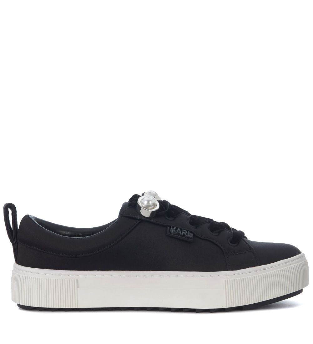 Karl Lagerfeld Black Satin Sneaker With Pearls