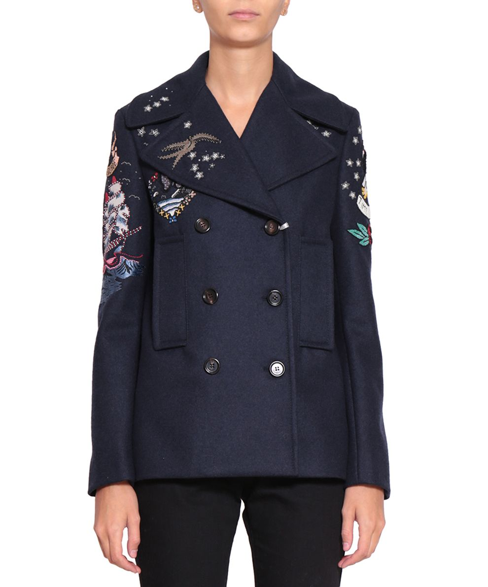 Valentino Wool Embroidered Peacoat