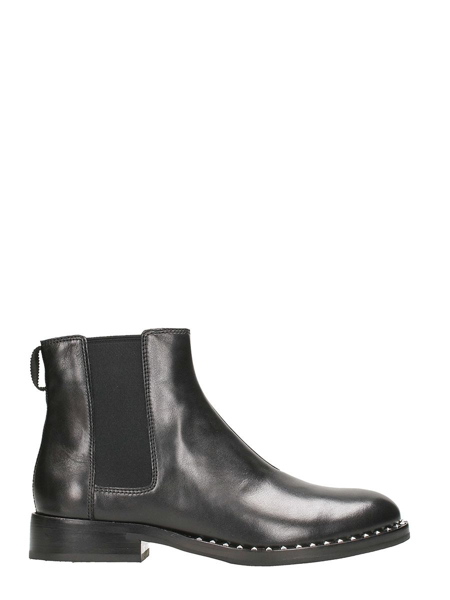 Ash Wino Ankle Boots In Black Leather