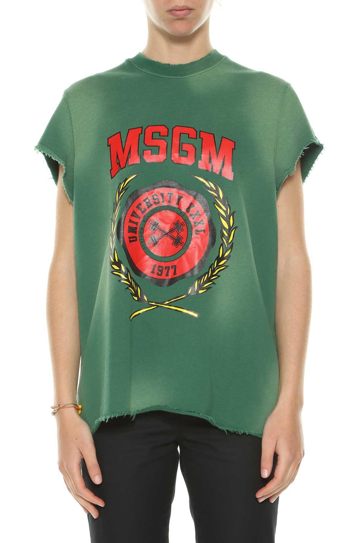 Msgm Short Sleeves Printed Sweatshirt