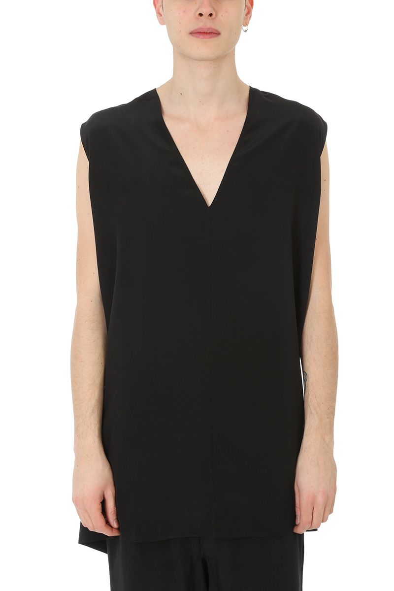 Rick Owens Black Silk Tank Top