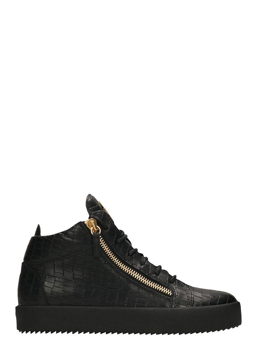 Giuseppe Zanotti Kriss Black Leather Snake Print Sneakers