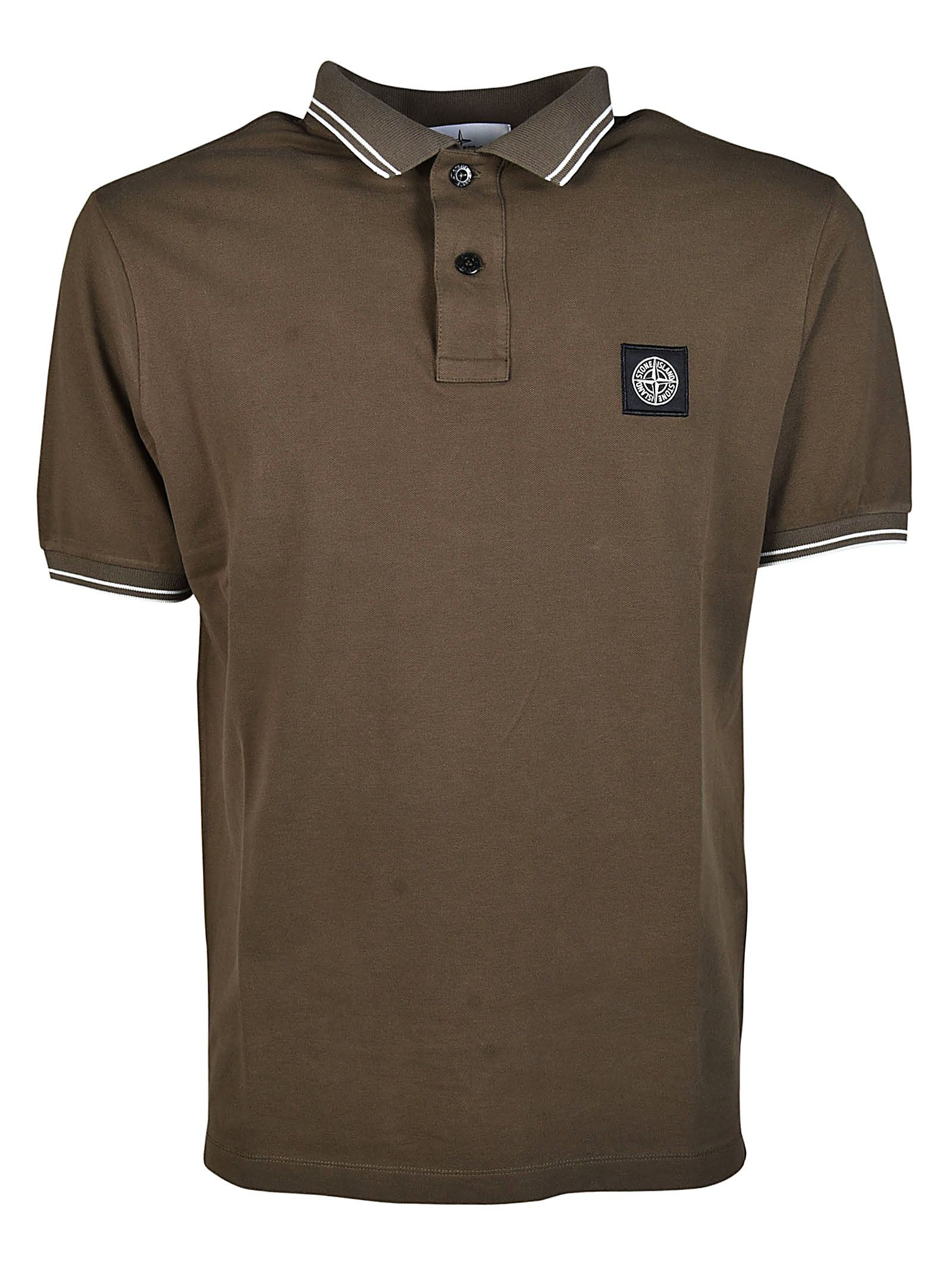 Stone Island Striped Trim Polo Shirt