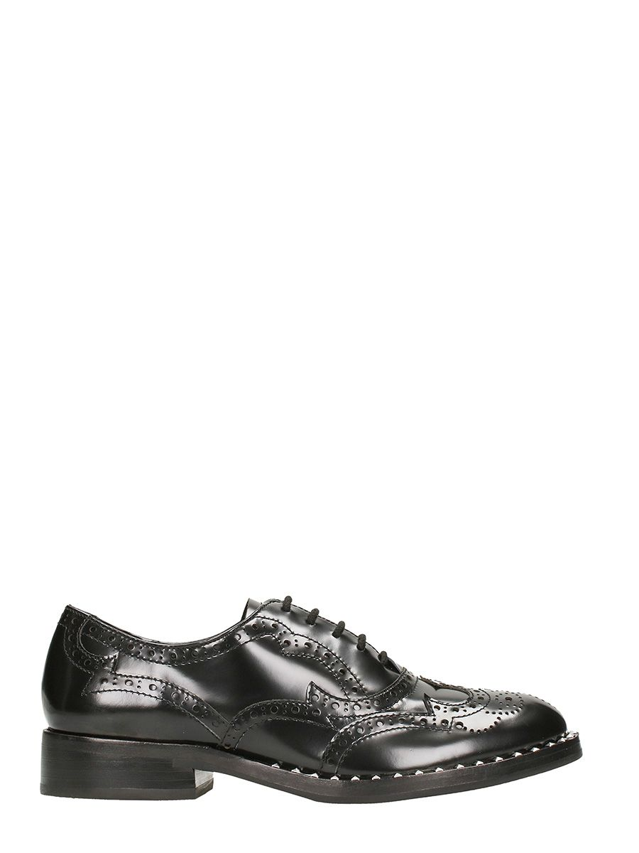 Ash Black Leather Wing Lace-up Brogues