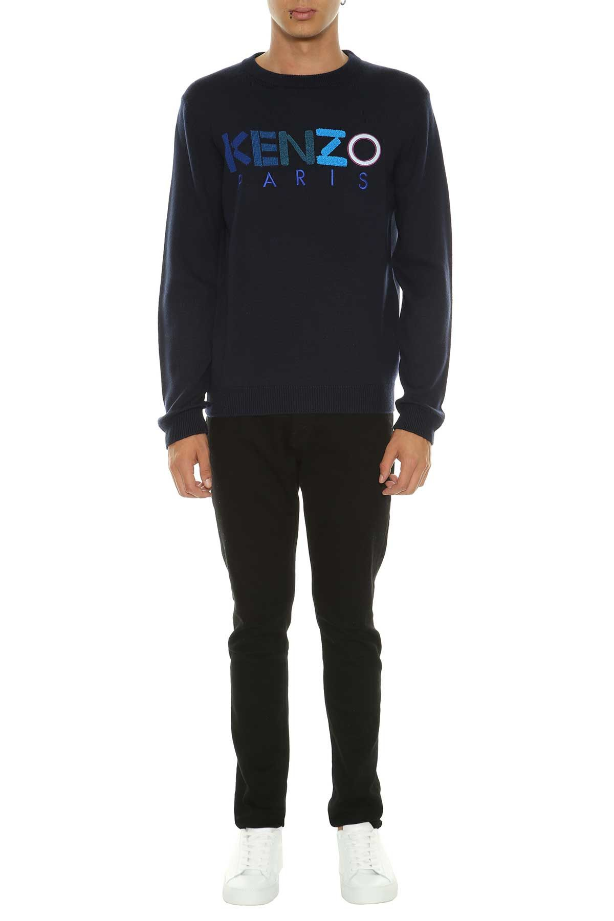 kenzo kenzo sweater with logo marine men 39 s sweaters italist. Black Bedroom Furniture Sets. Home Design Ideas