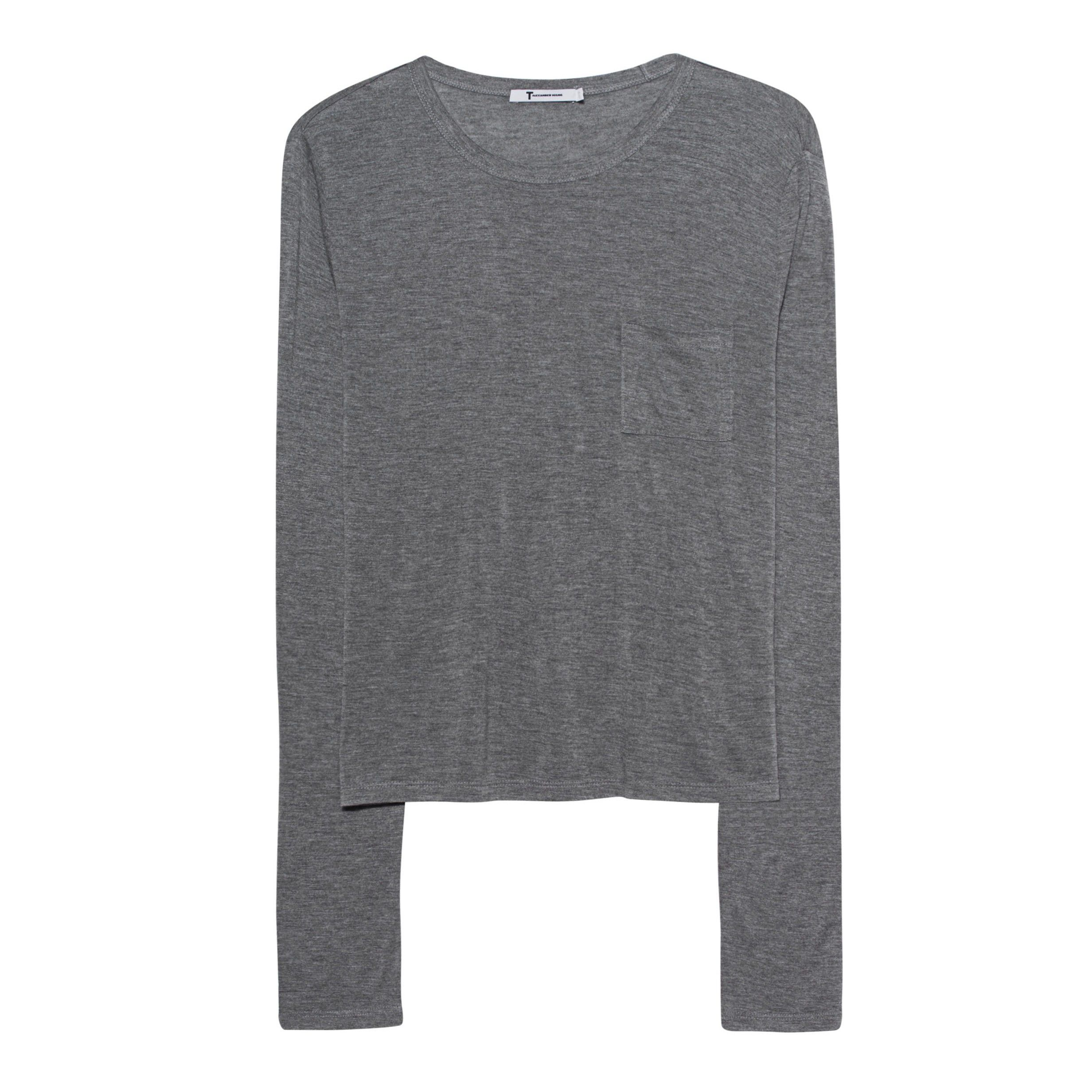 Alexander Wang Grey Pocket Top With Long Sleeves