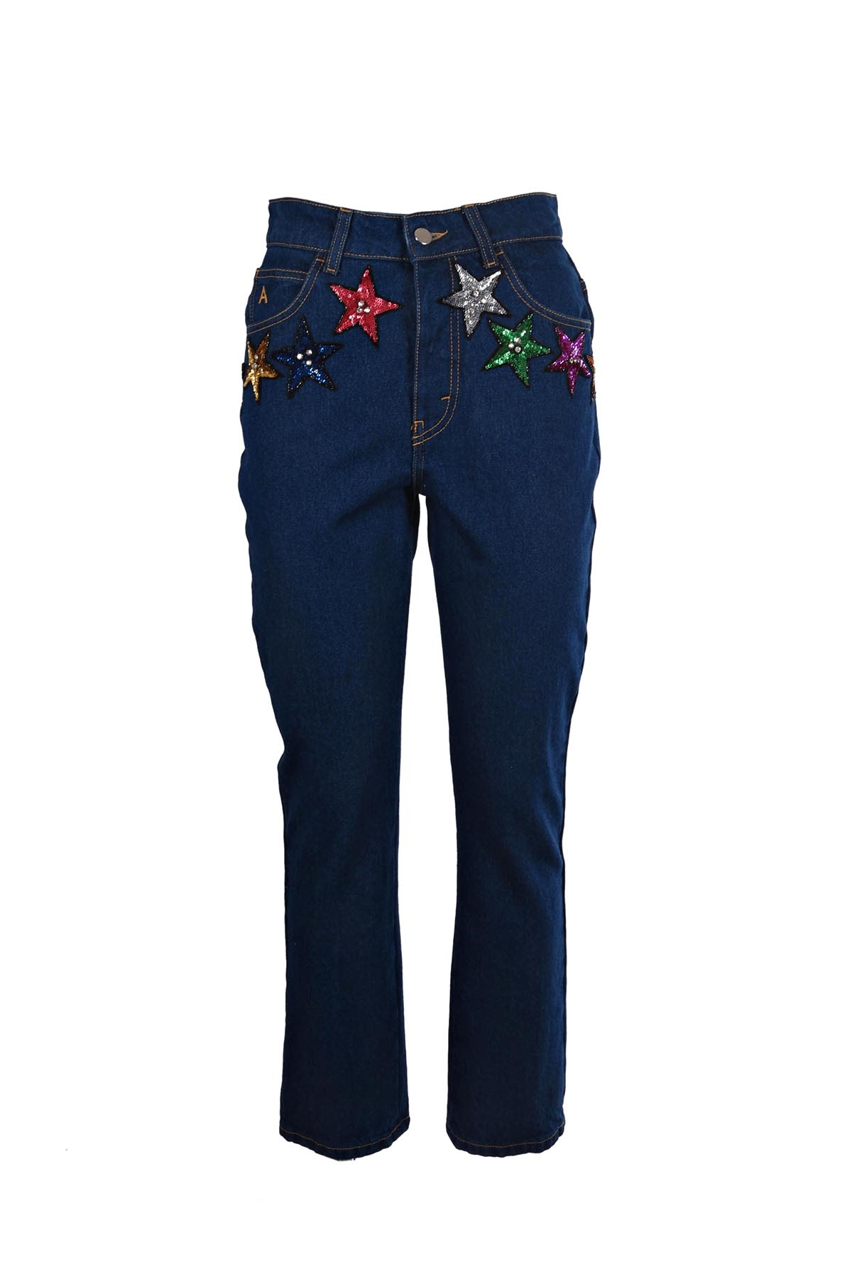 ATTICO Sequin Stars High Waisted Cropped Jeans