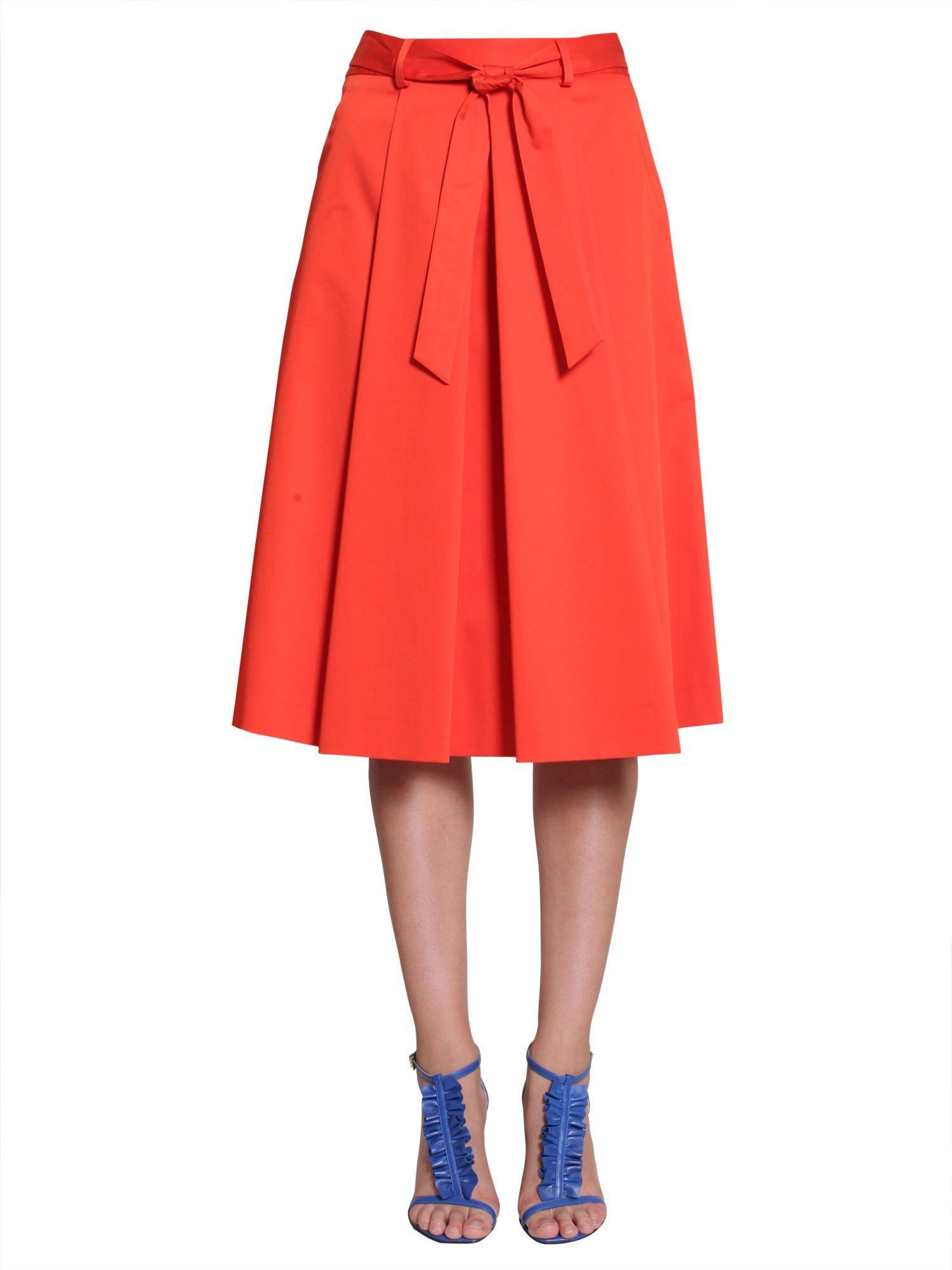 Pleated Stretch Satin Skirt