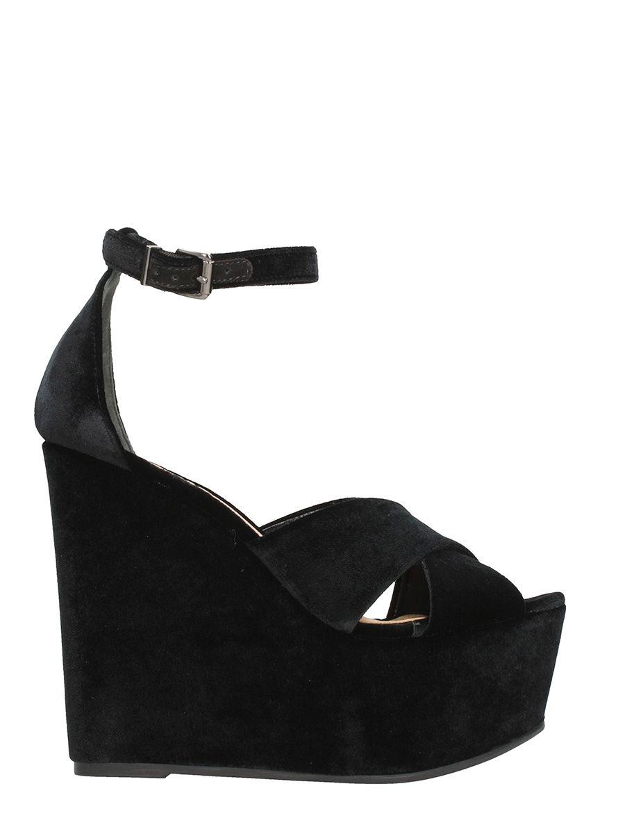Schutz Black Wedged Sandals
