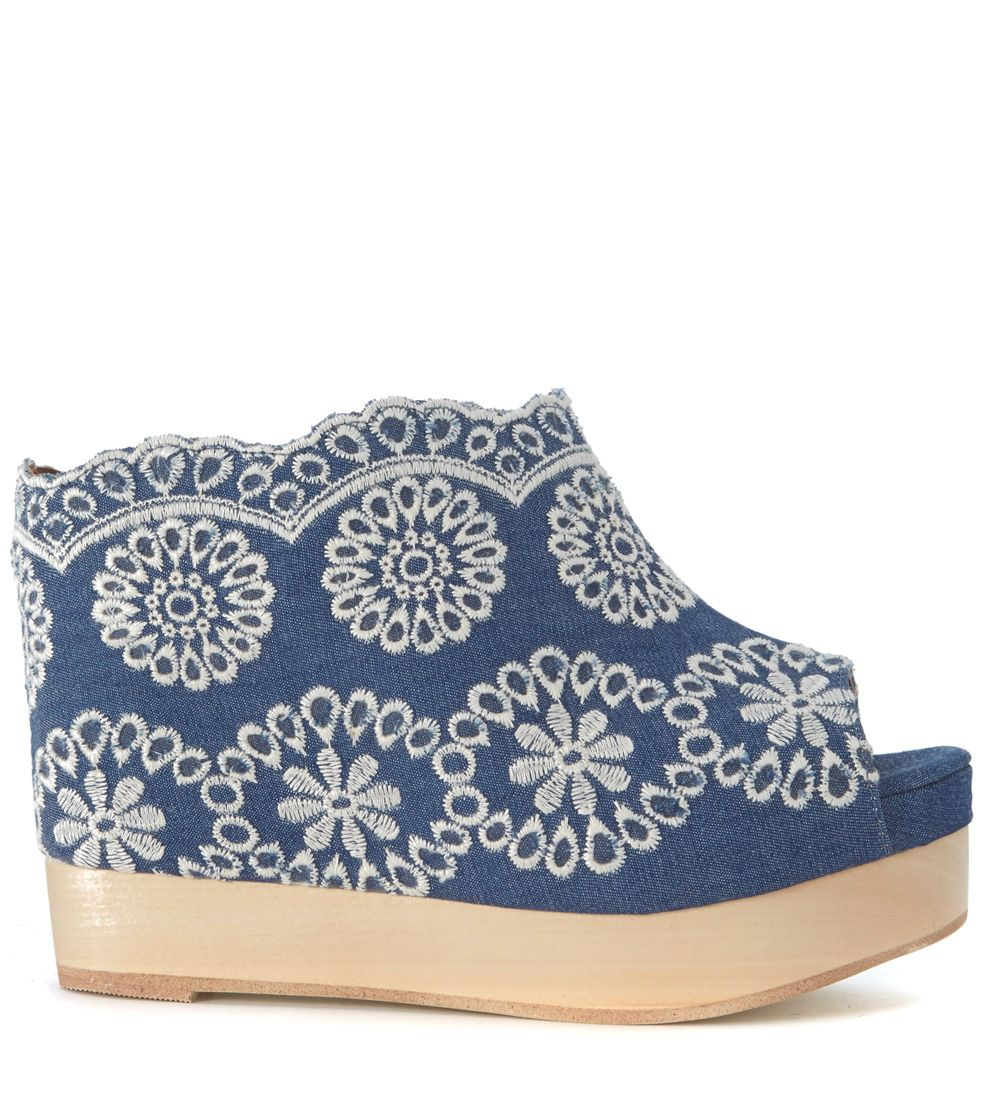 Jeffrey Campbell Virgo Denim Sabot With Flowers