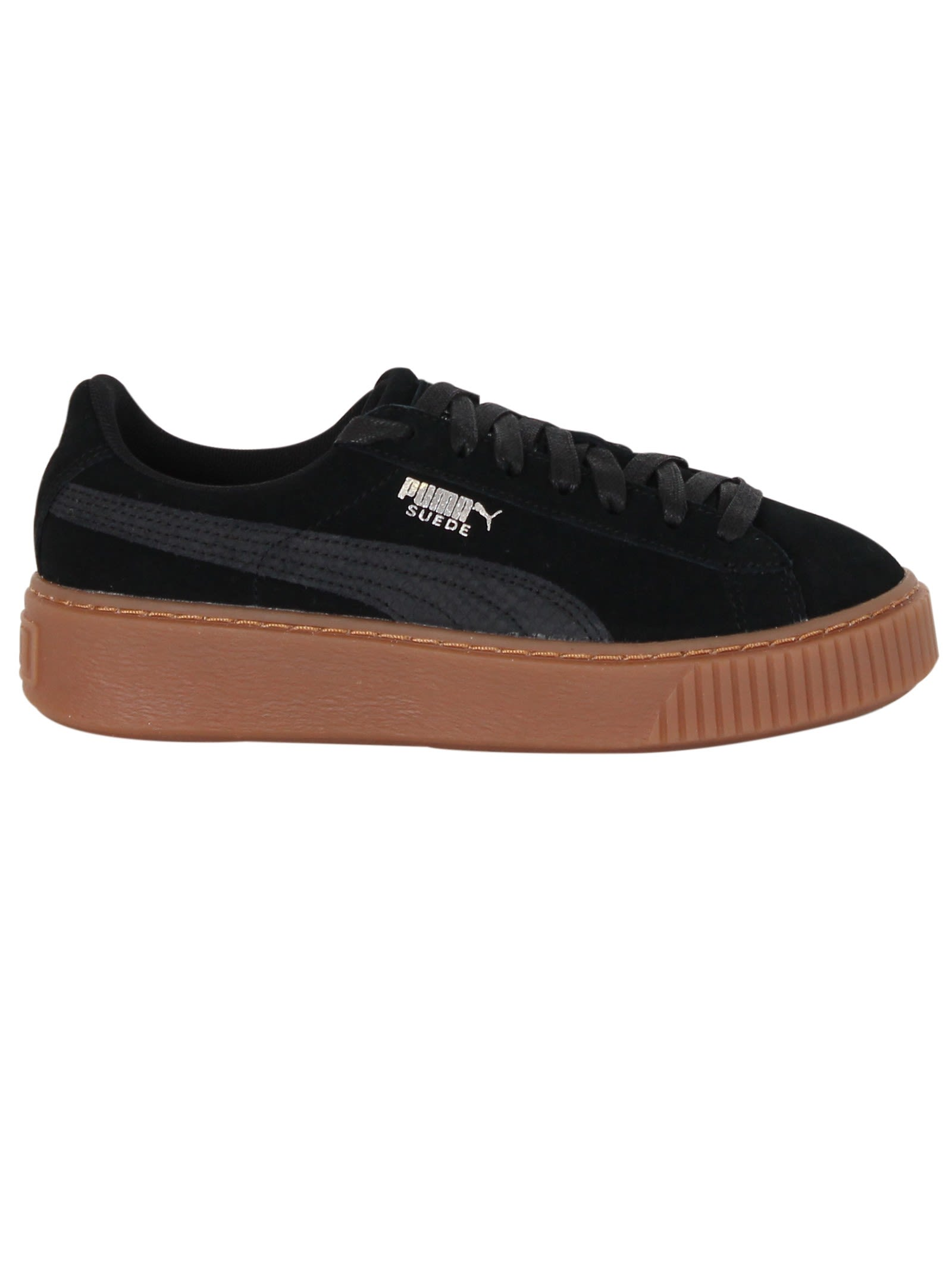 Black Suede Platform Animal Sneakers