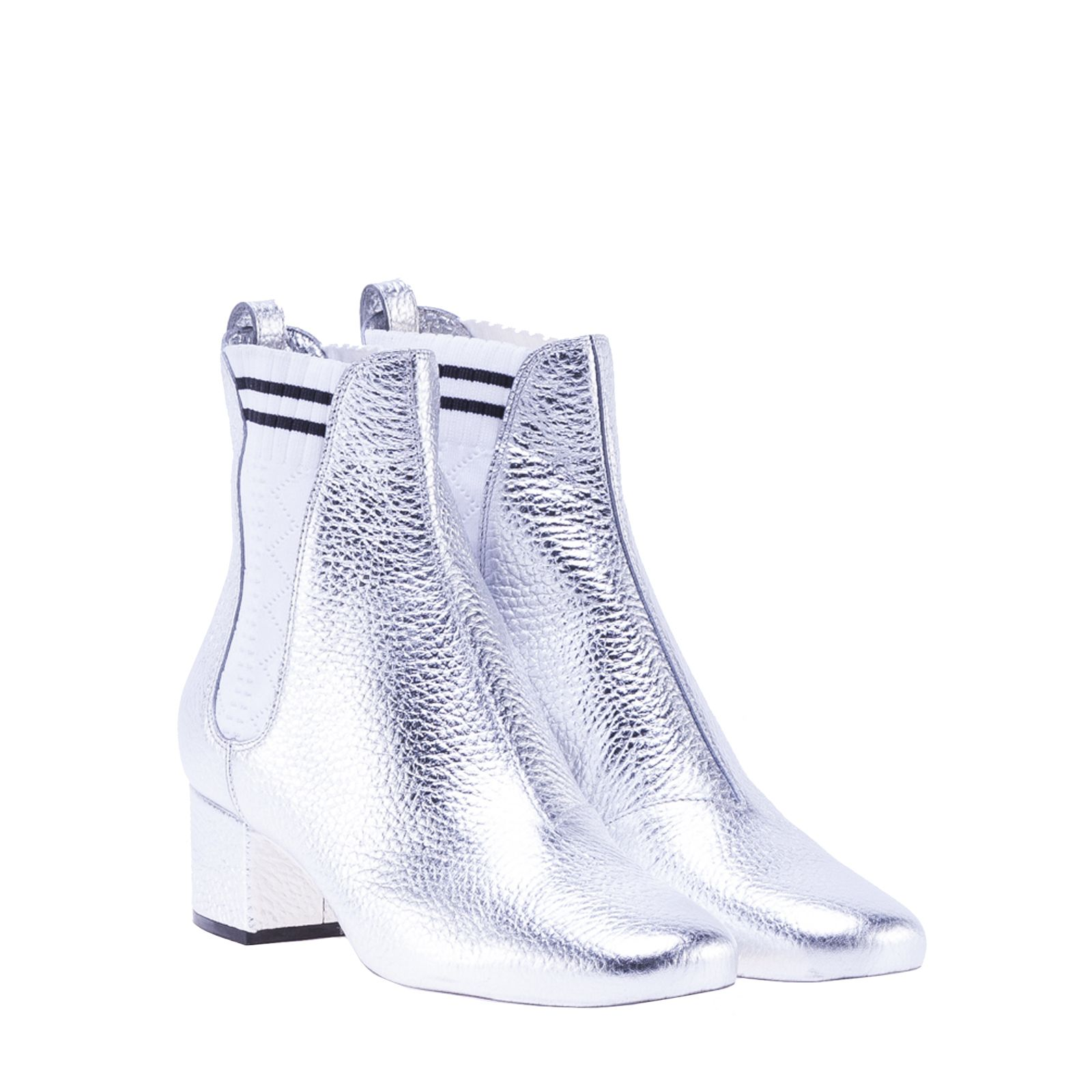 fendi fendi sock detail chelsea boots silver women 39 s boots italist. Black Bedroom Furniture Sets. Home Design Ideas