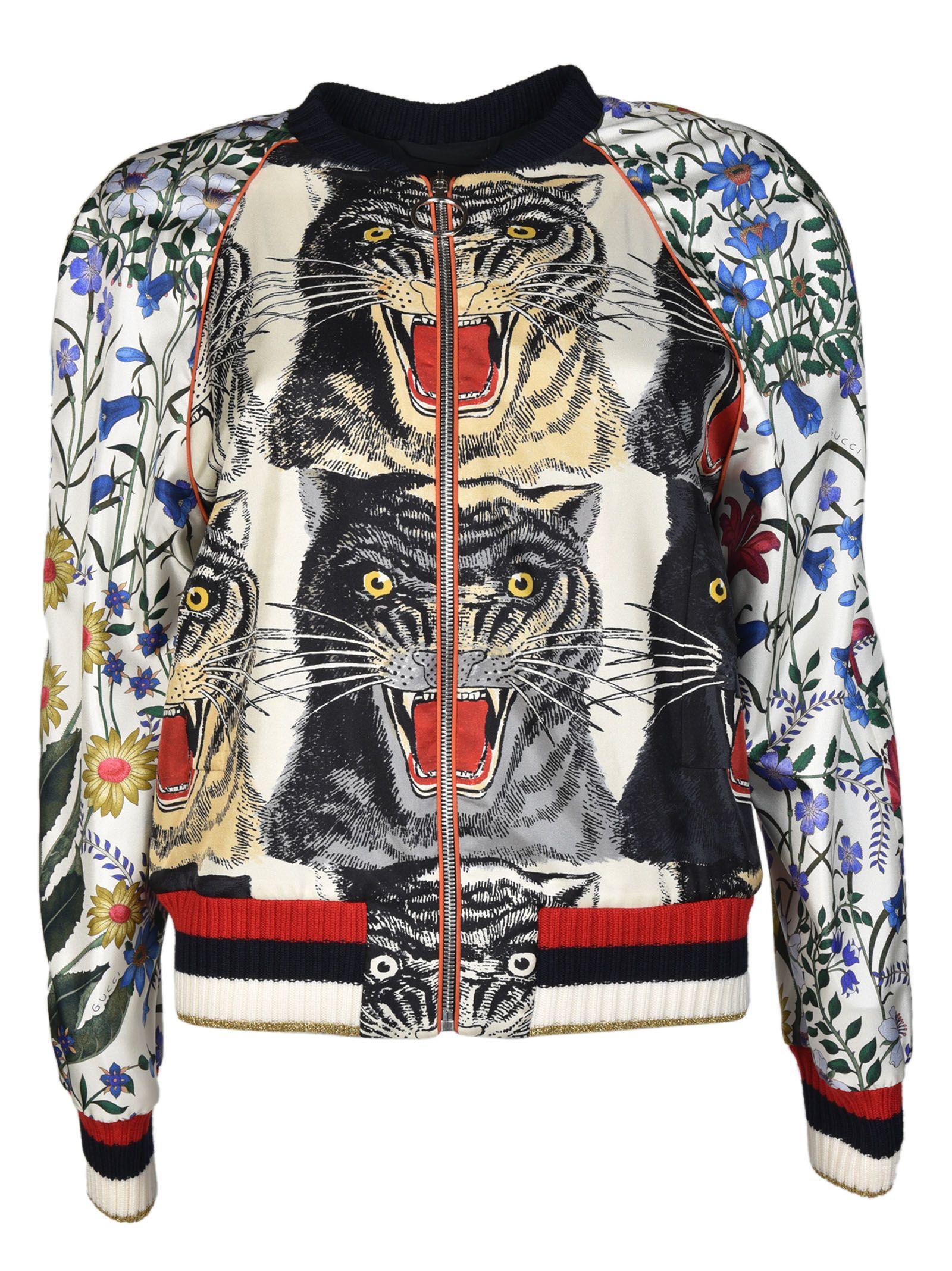 Gucci - Gucci Tiger Bomber Jacket - Multicolored, Women's Blazers ...