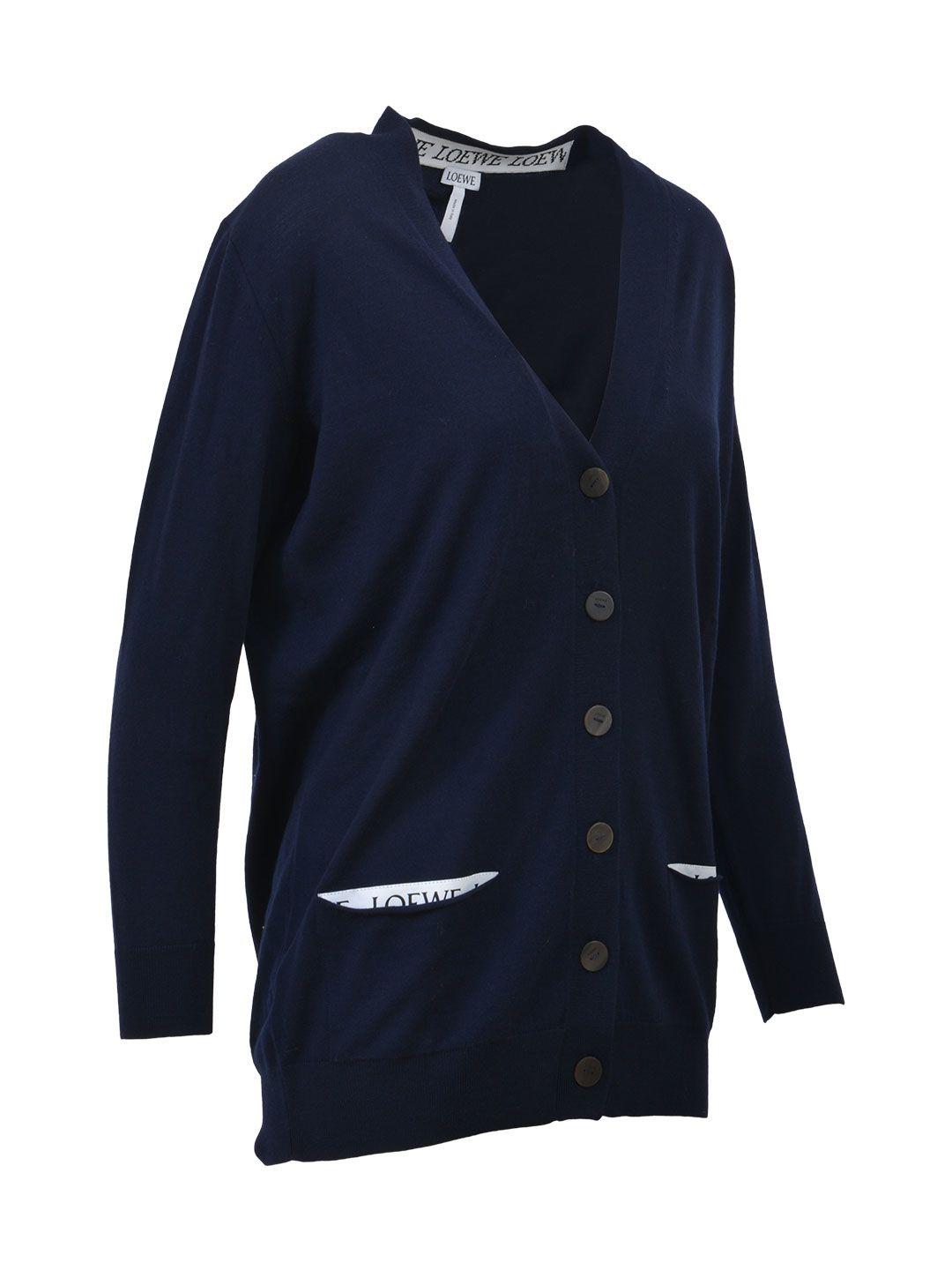 Loewe - Loewe Wool Cardigan - Blue, Women's Sweaters | Italist