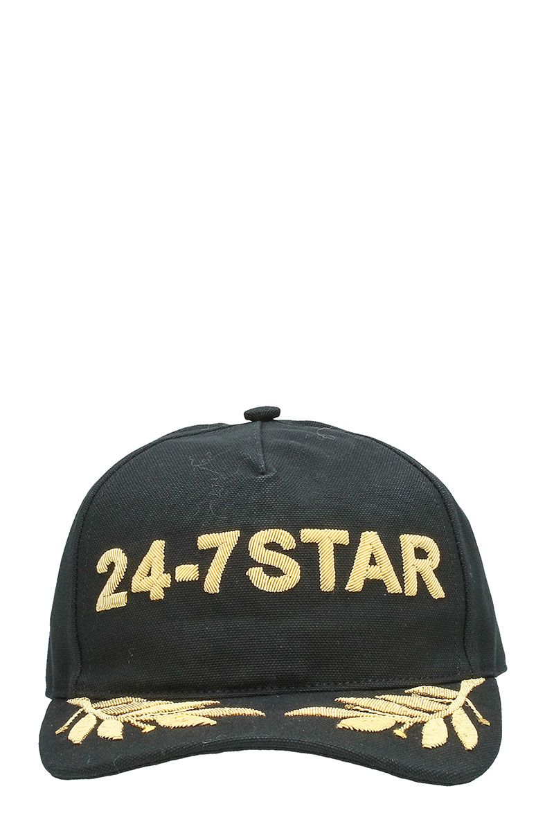Dsquared2 24-7 Star Black Cotton Snapback Cap Golden Logo