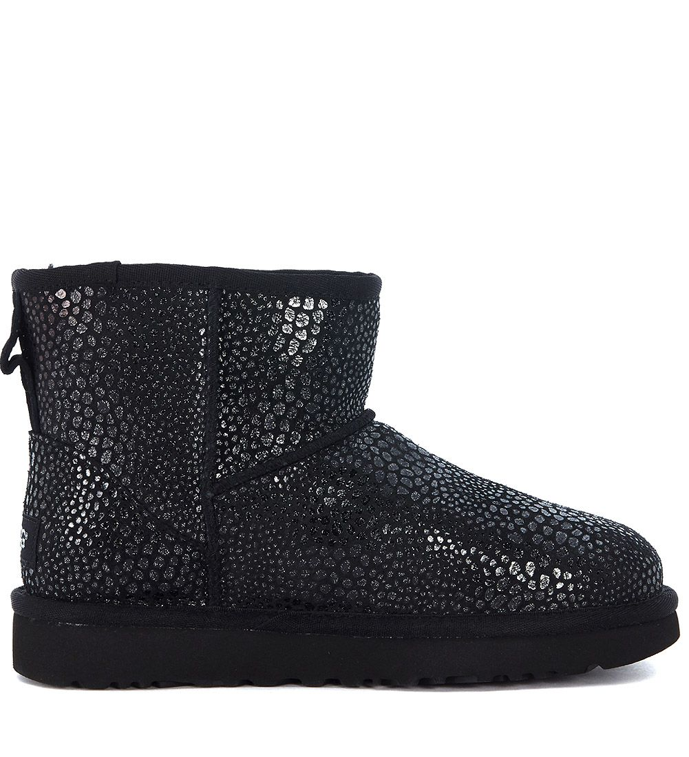 Ugg Classic Mini Glitzy Reptile Leather Effect Suede Ankle Boots