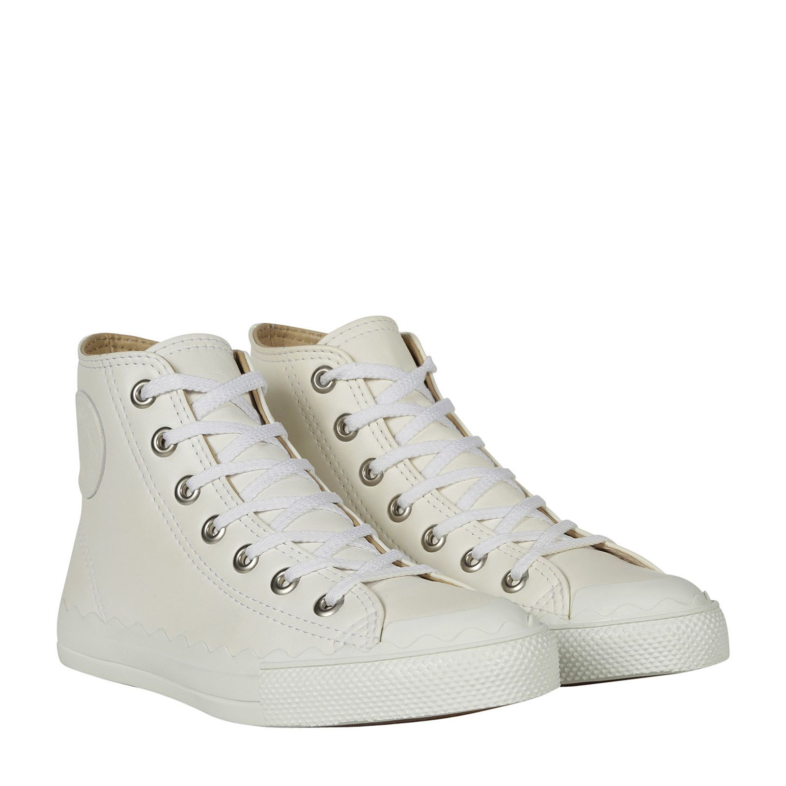 Chlo 201 Scalloped Leather High Top Sneaker White Modesens